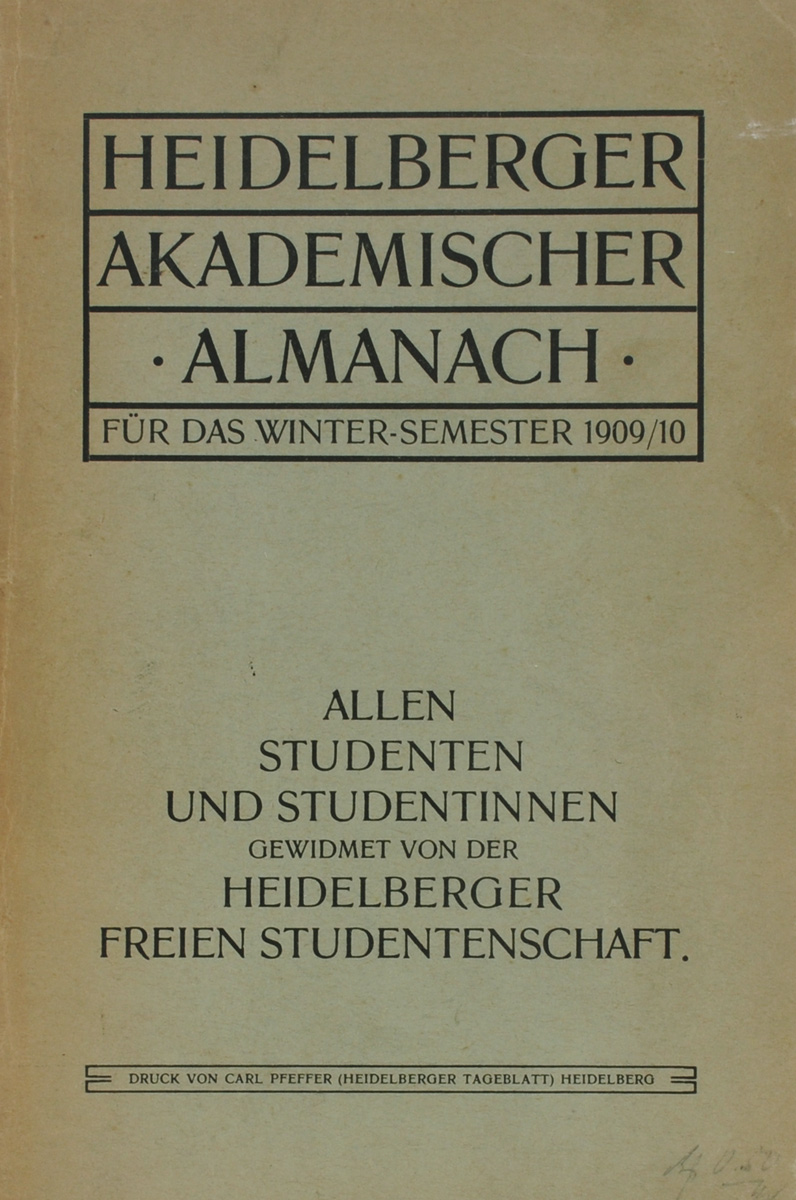 Heidelberger Akademischer Almanach fur das Winter-Semester 1909/10 десять рублей 1909