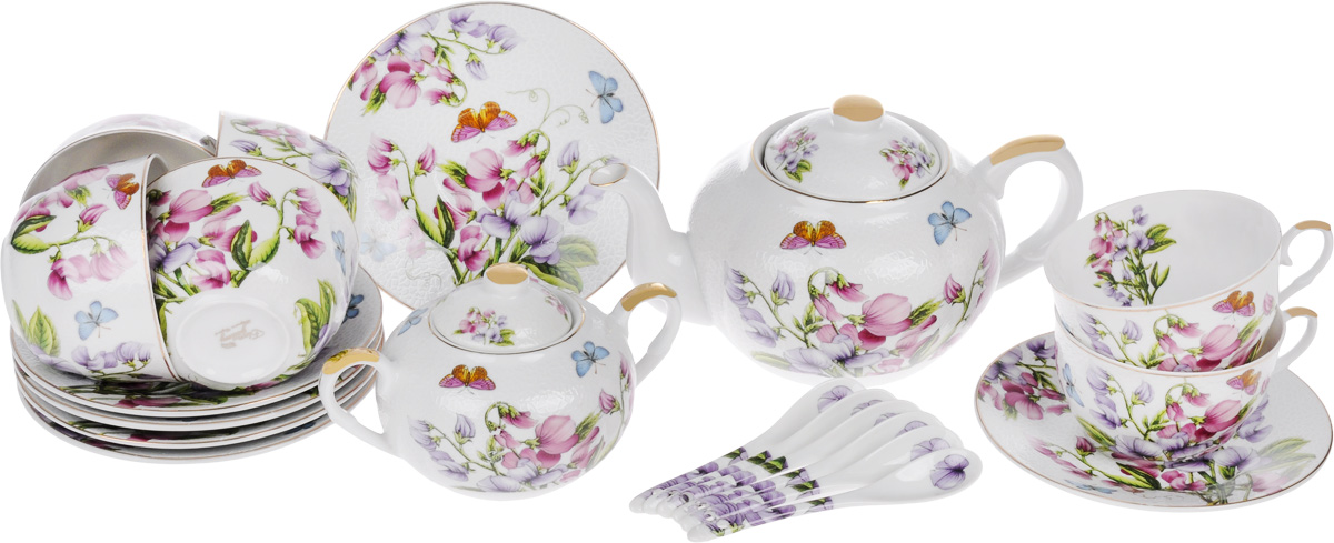 Набор чайный Elan Gallery Душистый цветок, 20 предметов180804Чайный набор Elan Gallery Душистый цветок состоит из 6 чашек, 6 блюдец, 6 ложек, заварного чайника и сахарницы. Изделия, выполненные из высококачественной керамики, имеют элегантныйдизайн и классическую круглую форму.Такой набор прекрасно подойдет как для повседневного использования, так и дляпраздников. Чайный набор Elan Gallery Душистый цветок - это не только яркий и полезный подарок дляродных иблизких, но и великолепное дизайнерское решение для вашей кухни илистоловой. Не рекомендуется использовать абразивные моющие средства.Не использовать в микроволновой печи.Объем чашки: 250 мл. Диаметр чашки (по верхнему краю): 9,5 см. Высота чашки: 6 см.Диаметр блюдца (по верхнему краю): 15 см.Высота блюдца: 2 см.Длина ложки: 12,5 см.Объем заварного чайника: 900 мл.Диаметр (по верхнему краю): 8,5 см.Высота чайника (без учета крышки): 10,5 см. Диаметр сахарницы (по верхнему краю): 6 см. Ширина сахарницы (с учетом ручек): 15,5 см. Высота сахарницы (без учета крышки): 8 см.