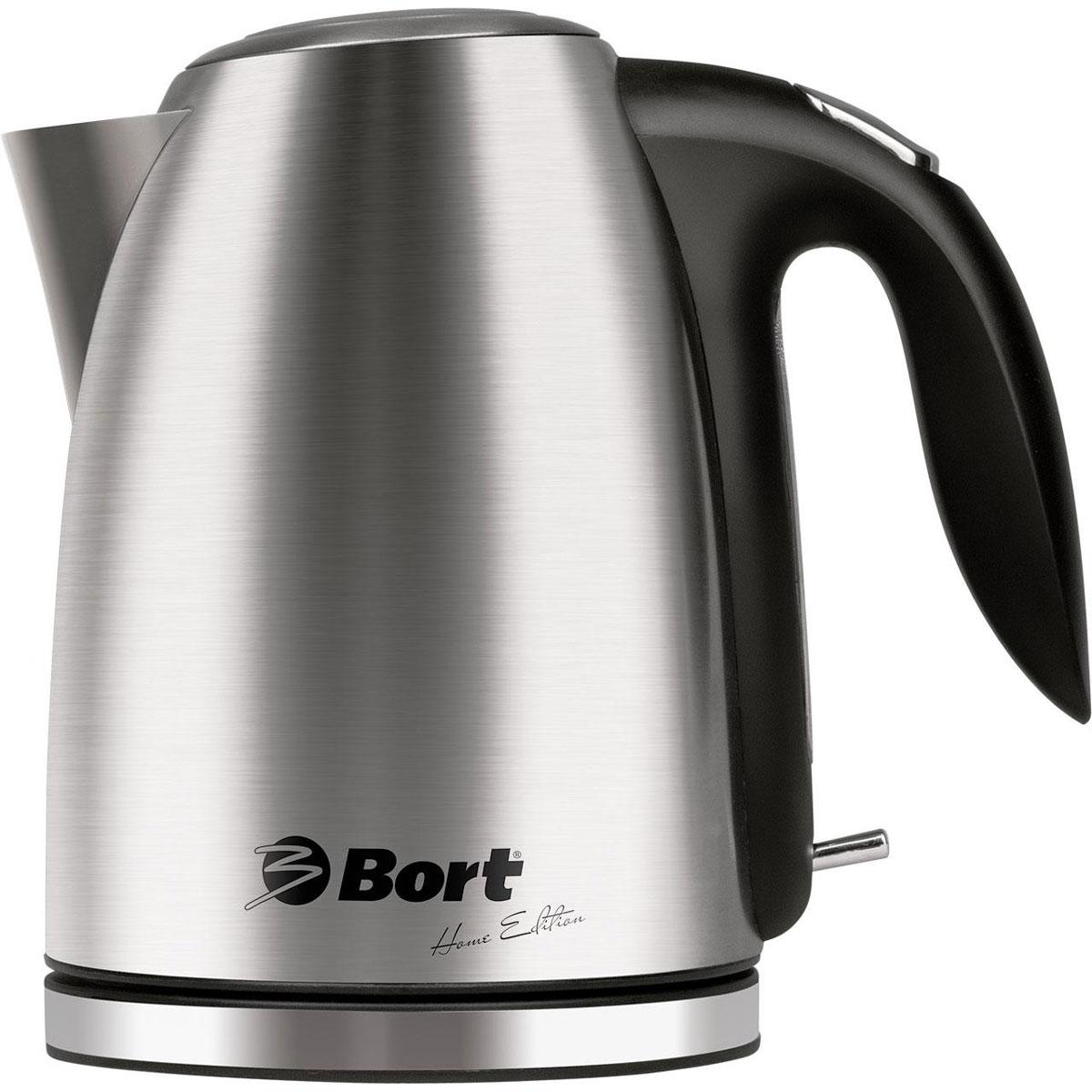 Bort BWK-2017M-L чайник электрический91276766Чайник Bort BWK-2017M-L, выполненный из нержавеющей стали, станет настоящим украшением кухни. Он отличается не только отличным внешним видом, но и высоким качеством герметизации и доработанным контроллером. Автоматическое отключение при закипании и предохранитель от включения без воды защитят вас от непредвиденных ситуаций. Мягкая LED подсветка и тщательно проработанный и удобный механизм открывания крышки, расположенный на ручке, являются приятными дополнениями к этому надежному чайнику. Кроме того дляудобства пользования поворотное основание снабжено отсеком для хранения шнура.