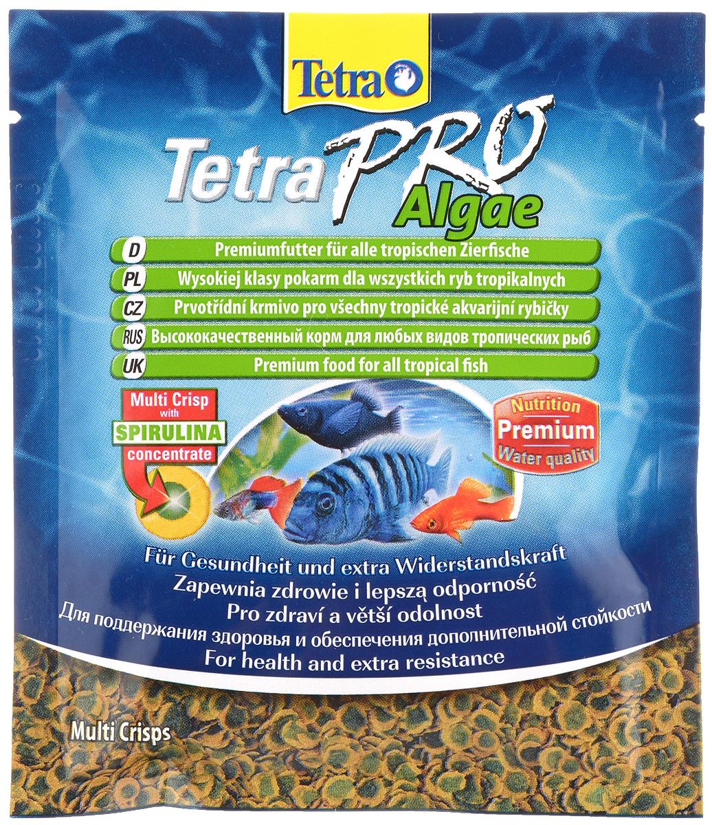 Полноценный_высококачественный_корм_Tetra_~TetraPro._Algae~_для_всех_видов_тропических_рыб_разработан_для_поддержания_здоровья_и_придания_дополнительной_стойкости._Особенности_Tetra_~TetraPro._Algae~:_-_щадящая_низкотемпературная_технология_изготовления_для_высокой_питательной_ценности_и_стабильности_витаминов;-_концентрат_спирулина_для_повышения_сопротивляемости_организма;-_инновационная_форма_чипсов_для_минимального_загрязнения_воды;-_идеально_подходит_для_растительноядных_рыб;-_легкое_кормление._Рекомендации_по_кормлению:_кормить_несколько_раз_в_день_маленькими_порциями.Состав:_рыба_и_побочные_рыбные_продукты,_зерновые_культуры,_экстракты_растительного_белка,_дрожжи,_моллюски_и_раки,_масла_и_жиры,_водоросли_(спирулина_1%25).Аналитические_компоненты:_сырой_белок_-_46%25,_сырые_масла_и_жиры_-_12%25,_сырая_клетчатка_-_3%25,_влага_-_9%25.Добавки:_витамины,_провитамины_и_химические_вещества_с_аналогичным_воздействием,_витамин_А_29810_МЕ/кг,_витамин_Д3_1860_МЕ/кг,_Л-карнитин_123_мг/кг._Комбинации_элементов:_Е5_Марганец_67_мг/кг,_Е6_Цинк_40_мг/кг,_Е1_Железо_26_мг/кг._Красители,_консерванты,_антиоксиданты.Товар_сертифицирован.