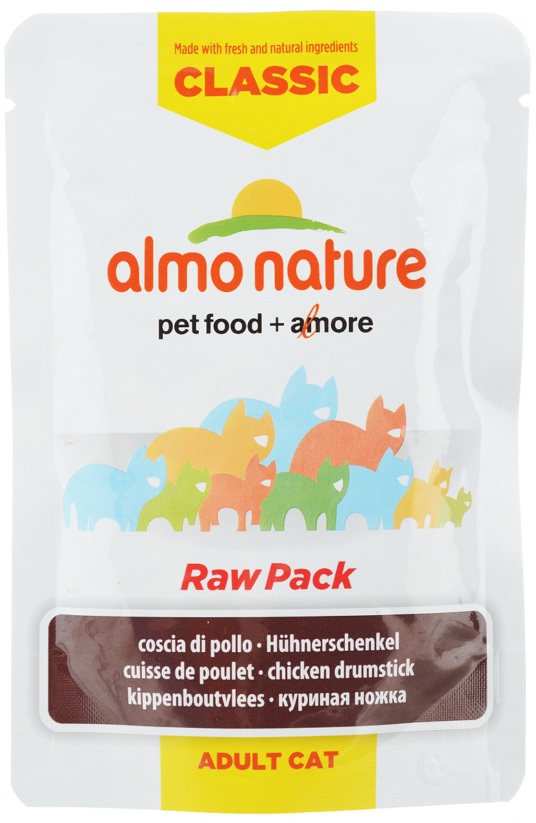 Консервы для кошек Almo Nature Classic Raw Pack, куриные бедрышки, 55 г20466Консервы для кошек Almo Nature Classic Raw Pack - дополнительное питание для взрослых кошек. Консервы приготовлены из свежих и натуральных ингредиентов, упакованы сырыми и затем стерилизованы, чтобы сохранить питательные вещества и вкус.Состав: куриная ножка 75%, куриный бульон 24%, рис 1%. Пищевая ценность: белок 15%, клетчатка 0,1%, масла и жир 3,5%, зола 1,5%, влажность 80%. Энергетическая ценность: 820 ккал/кг. Товар сертифицирован.