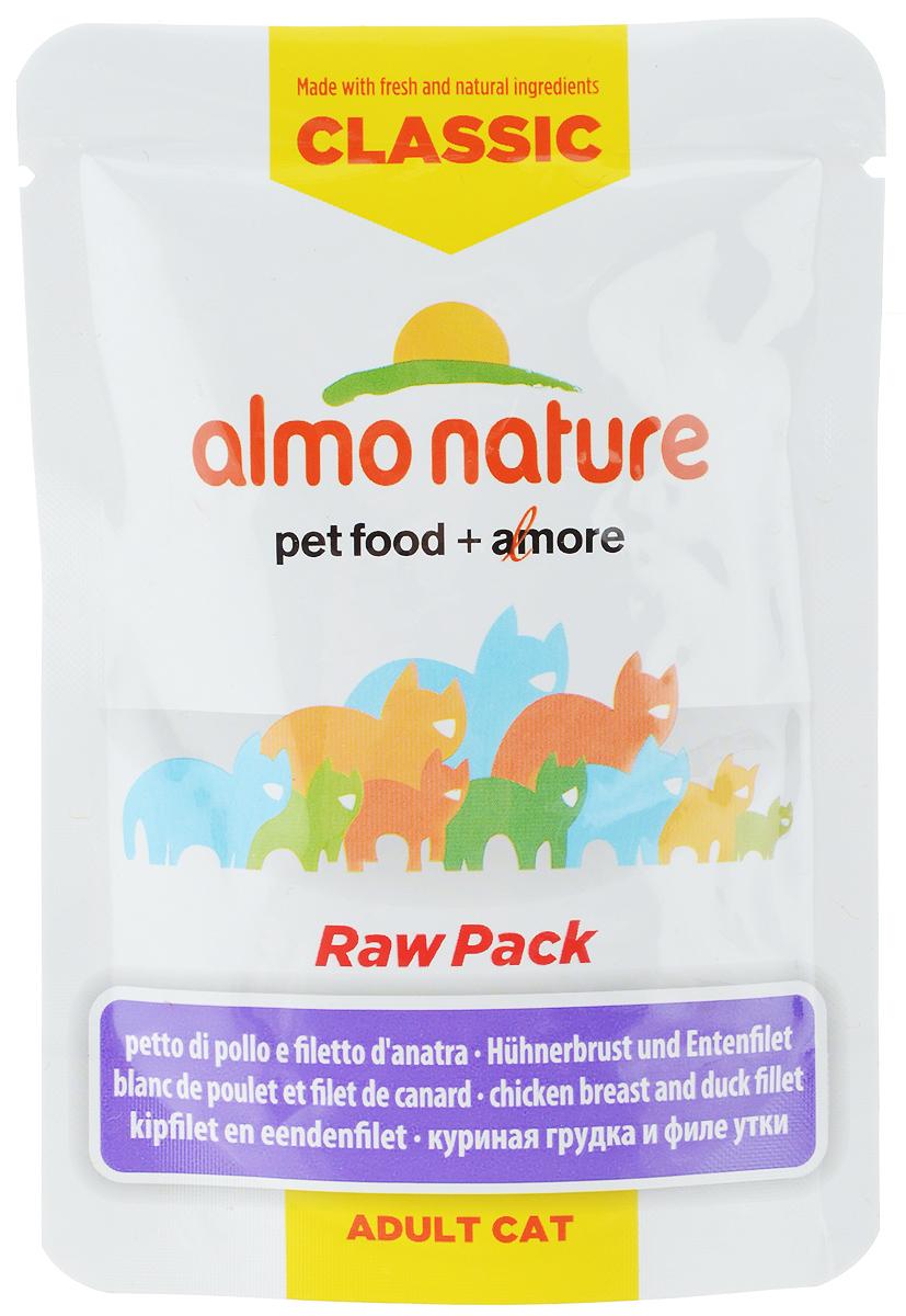 Консервы для кошек Almo Nature Classic Raw Pack, куриная грудка и утиное филе, 55 г20473Консервы для кошек Almo Nature Classic Raw Pack - дополнительное питание для взрослых кошек. Консервы приготовлены из свежих и натуральных ингредиентов, упакованы сырыми и затем стерилизованы, чтобы сохранить питательные вещества и вкус.Состав: куриная грудка 67%, куриный бульон 24%, филе утки 8%, красный рис 1%. Пищевая ценность: белок 18%, клетчатка 0,1%, масла и жир 0,5%, зола 2%, влажность 78%. Энергетическая ценность: 670 ккал/кг. Товар сертифицирован.