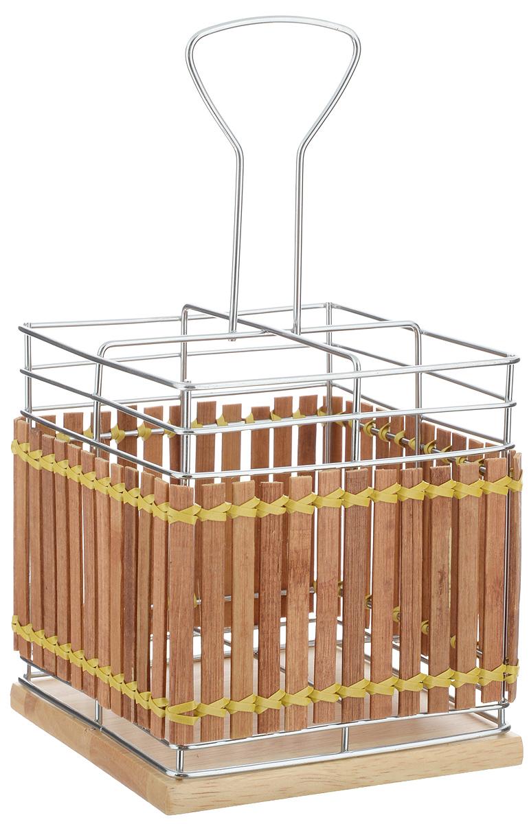 """Подставка для столовых приборов """"Mayer & Boch"""" изготовлена из металла с деревянной плетеной отделкой. Изделие имеет 4 секции для хранения различных столовых приборов. Дно подставки выполнено из дерева. Для удобной переноски подставка снабжена ручкой.  Оригинальная и стильная подставка для столовых приборов отлично дополнит интерьер кухни и поможет аккуратно хранить ваши столовые приборы."""