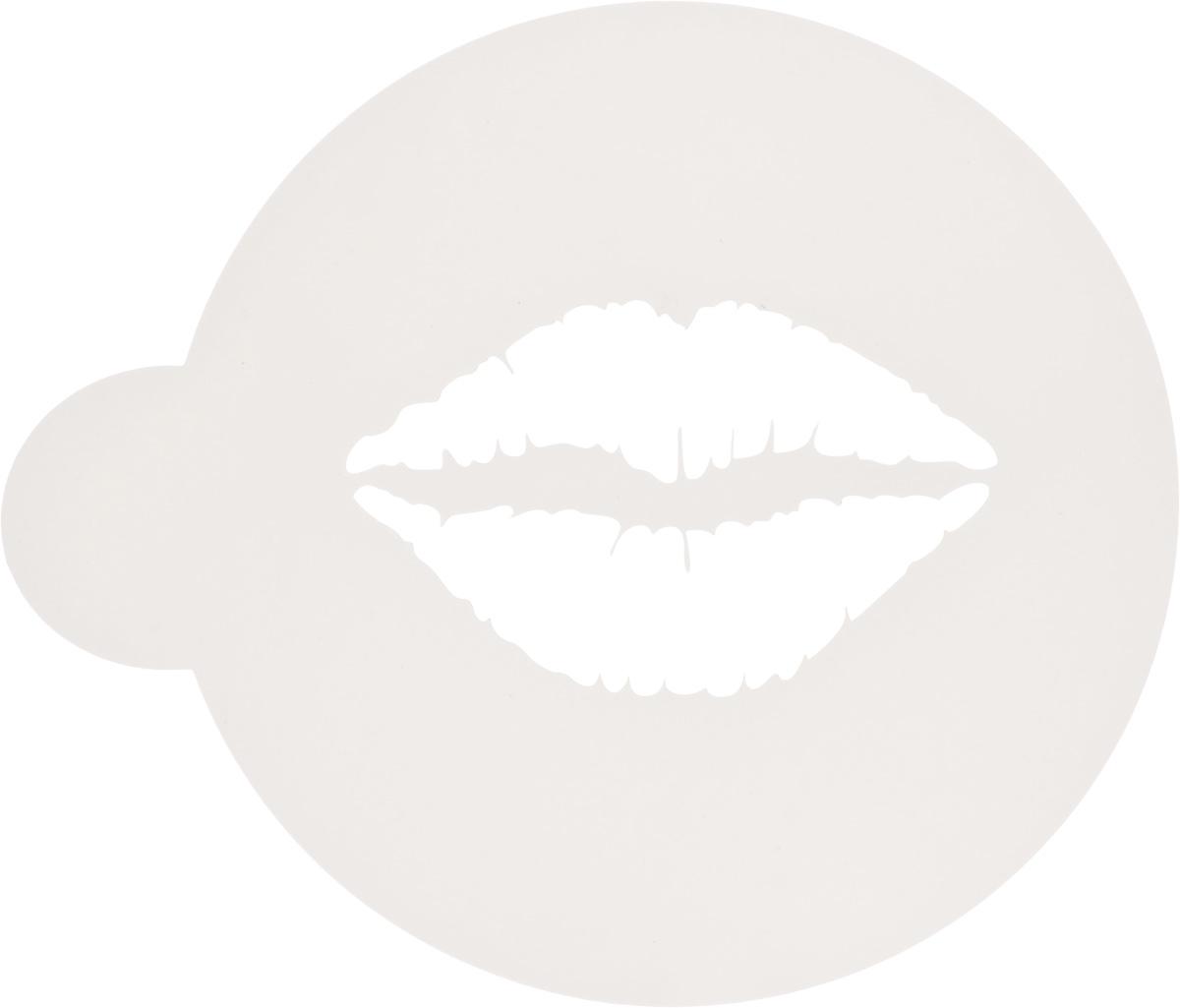 Трафарет на кофе и десерты Леденцовая фабрика Поцелуй, диаметр 10 смТ012Трафарет представляет собой пластину с прорезями, через которые пищевая краска (сахарная пудра, какао, шоколад, сливки, корица, дробленый орех) наносится на поверхность кофе, молочных коктейлей, десертов. Трафарет изготовлен из матового пищевого пластика 250 мкм и пригоден для контакта с пищевыми продуктами. Трафарет многоразовый. Побалуйте себя и ваших близких красиво оформленным десертом.