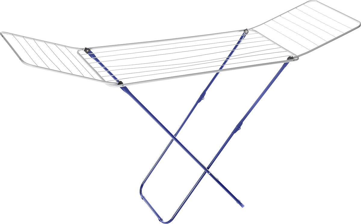 Сушилка для белья Mayer & Boch, цвет: синий, белый, 180 х 50 х 108 см9613_синийСушилка для бельяMayer & Boch, изготовленная из металла, проста и удобна в использовании. Идеально подходит для любых помещений. Также сушилка имеет распашные створки для более удобной сушки белья. Защитные пластиковые уголки на ножках предотвратят появление царапин на полу. Сушилка для белья легко складывается и в таком состоянии занимает мало места, потому вам легко будет убрать ее в любое удобное для вас место. Размер сушилки в разложенном виде: 180 х 50 х 108 см. Размер сушилки в сложенном виде: 50 х 5 х 125 см.