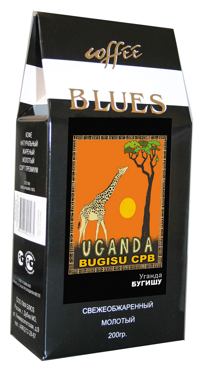 Блюз Бугишу Уганда кофе молотый, 200 г4600696821024Кофе Блюз Бугишу Уганда выращивают на горе Элгон, расположенной на северо-востоке Уганды в районе под названием Северный Бугишу, вдоль кенийской границы. Арабику, из которой производят кофе Bugisu, выращивают на небольших фермах, которые называются шэмбас. Кофе на них растет в тени бананов и среди маниоки.Кофе: мифы и факты. Статья OZON Гид