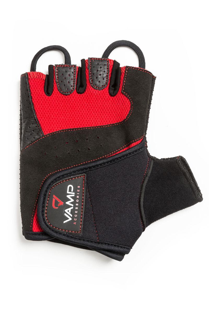 Перчатки для фитнеса Vamp, цвет: красный, черный. RE-560. Размер S перчатки для фитнеса vamp женские цвет розовый 540 размер xl