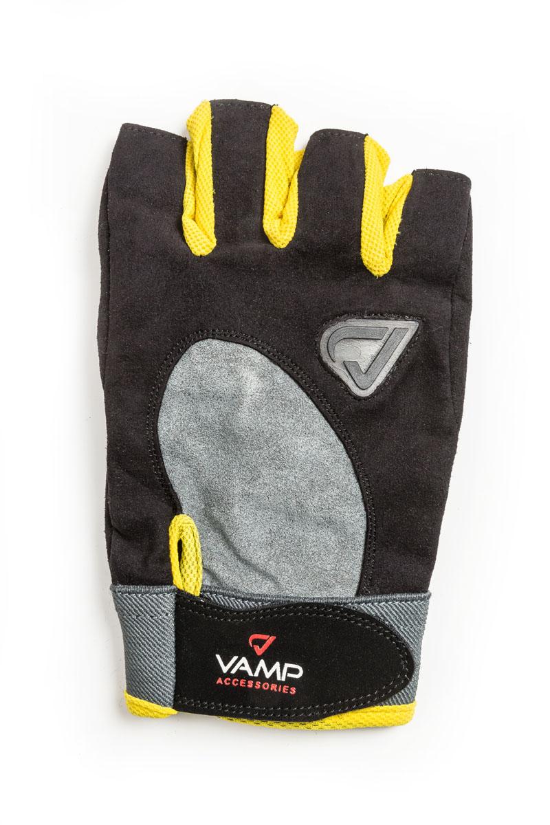 Перчатки для фитнеса Vamp, цвет: желтый, черный. RE 02. Размер XLV-553Перчатки для фитнеса Vamp выполнены из текстиля. Идеально подходят начинающим спортсменам и фитнес-энтузиастам. Рукам не жарко, они меньше потеют в перчатках благодаря применению дышащего материала. Специальные подушечки на ладони и нижней части пальцев защищают от мозолей и снижают нагрузку на ладони. Застежка на липучке прочно фиксирует перчатки на руке.