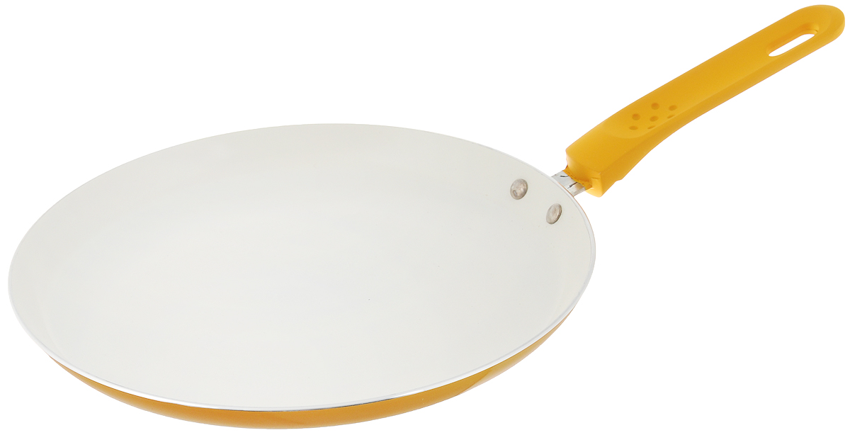 Сковорода для блинов Mayer & Boch, с керамическим покрытием, цвет: желтый. Диаметр 24 см22225_желтыйСковорода Mayer & Boch, изготовленная из алюминия с высококачественным керамическим покрытием, прекрасно подойдет для жарки яичницы, блинов и оладьев. Керамика не содержит вредной примеси ПФОК, что способствует здоровому и экологичному приготовлению пищи. Гладкое керамическое антипригарное покрытие, толщиной более 40 микрон, обладает повышенной прочностью, устойчиво к высокотемпературным режимам и истиранию керамического слоя при ежедневном использовании. Кроме того, с таким покрытием пища не пригорает и не прилипает к стенкам, поэтому можно готовить с минимальным добавлением масла и жиров. Гладкая, идеально ровная поверхность сковороды легко чистится, ее можно мыть в воде руками или вытирать полотенцем. Внешнее жаропрочное покрытие обеспечивает легкий уход за посудой одним движением руки. Эргономичная ручка специального дизайна, выполненная из пластика с силиконовым покрытием, удобна в эксплуатации. Утолщенное дно и стенки увеличивают срок службы изделия относительно аналогов. Сковорода подходит для использования на всех видах плит, включая индукционные. Также изделие можно мыть в посудомоечной машине. Внутренний диаметр сковороды (по верхнему краю): 24 см. Высота стенок: 2 см. Длина ручки: 16 см.