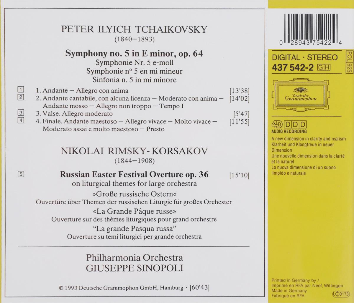 Giuseppe Sinopoli.  Tchaikovsky.  Symphony No.  5 / Rimsky-Korsakov.  Russian Easter Festival Overture Deutsche Grammophon GmbH