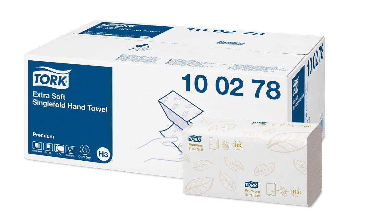 Tork листовые полотенца Singlefold сложения ZZ ультрамягкие 2-сл 200л, коробка 15 шт100278Целлюлоза