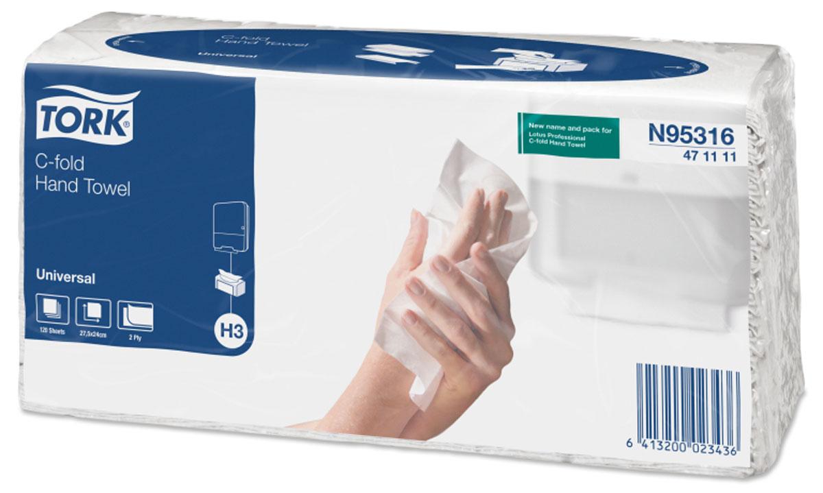 N95316 Tork листовые полотенца Singlefold C-сложения 2-сл 120л, 20 шт471111Двухслойные бумажные полотенца Tork подходят как для вытирания рук, так и для протирки различных поверхностей. Площадь листа на 32%больше, чем у аналогичных полотенец Z-сложения.Полотенца упакованы в полиэтиленовую пленку, позволяющую легко переносить пакет и использовать полотенца без диспенсера. СистемаН3. Категория качества - Universal.Цвет: белый.Состав - переработанное сырье. Размер листа 240 мм х 275 мм, в упаковке 120 листов.