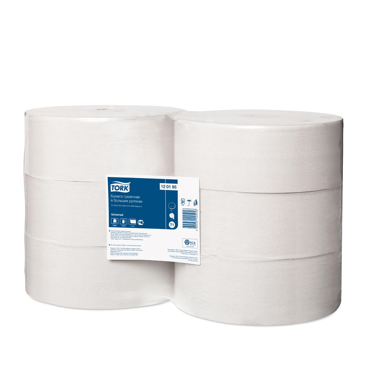 Бумага туалетная Tork, однослойная, 6 рулонов. 120095120095Однослойная туалетная бумага Tork в больших рулонах - оптимальное соотношение цены и качества, подходит для туалетных комнат высокой проходимости. Большая емкость, благодаря чему реже требуется перезаправка.Изготовлена из переработанного сырья.Без перфорации.
