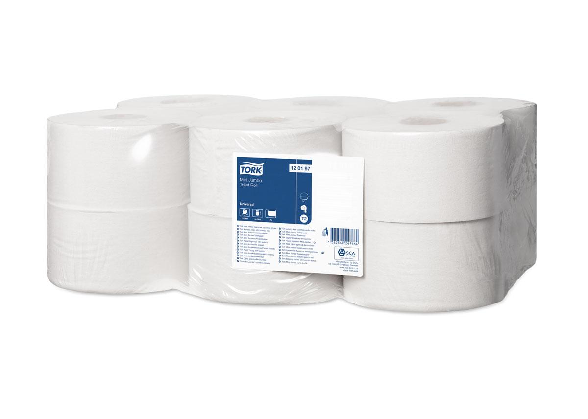 Бумага туалетная  Tork , однослойная, 12 мини-рулонов. 120197 - Туалетная бумага