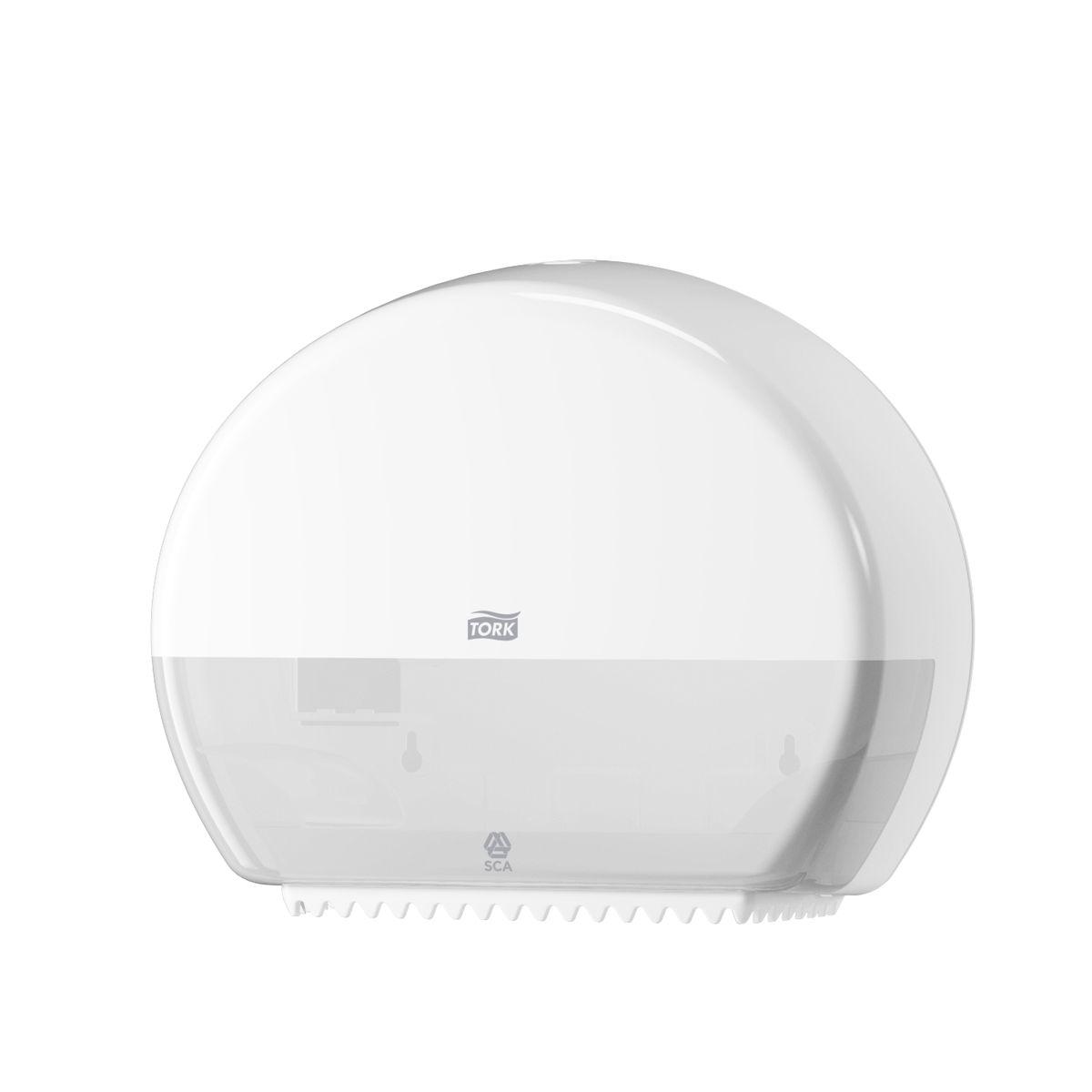 Диспенсер для туалетной бумаги Tork, цвет: белый. 555000555000Диспенсер для туалетной бумаги Tork с системой T2 предназначен для туалетной бумаги в мини рулонах.Держатель изготовлен из ударопрочного пластика белого цвета. Он предназначен для туалетных комнат средней и высокой проходимости. Вмещает 2 мини-рулона туалетной бумаги Tork Т2. Функция Stub Roll позволяет сэкономить до 35 м бумаги.Диспенсер очень компактный, емкость до 200 м. Вмещает запасной рулон. Снабжен специальными зубчиками, которые подходят для отрыва полотна как с перфорацией, так и без нее.Открывается двумя альтернативными способами: ключом и кнопкой.