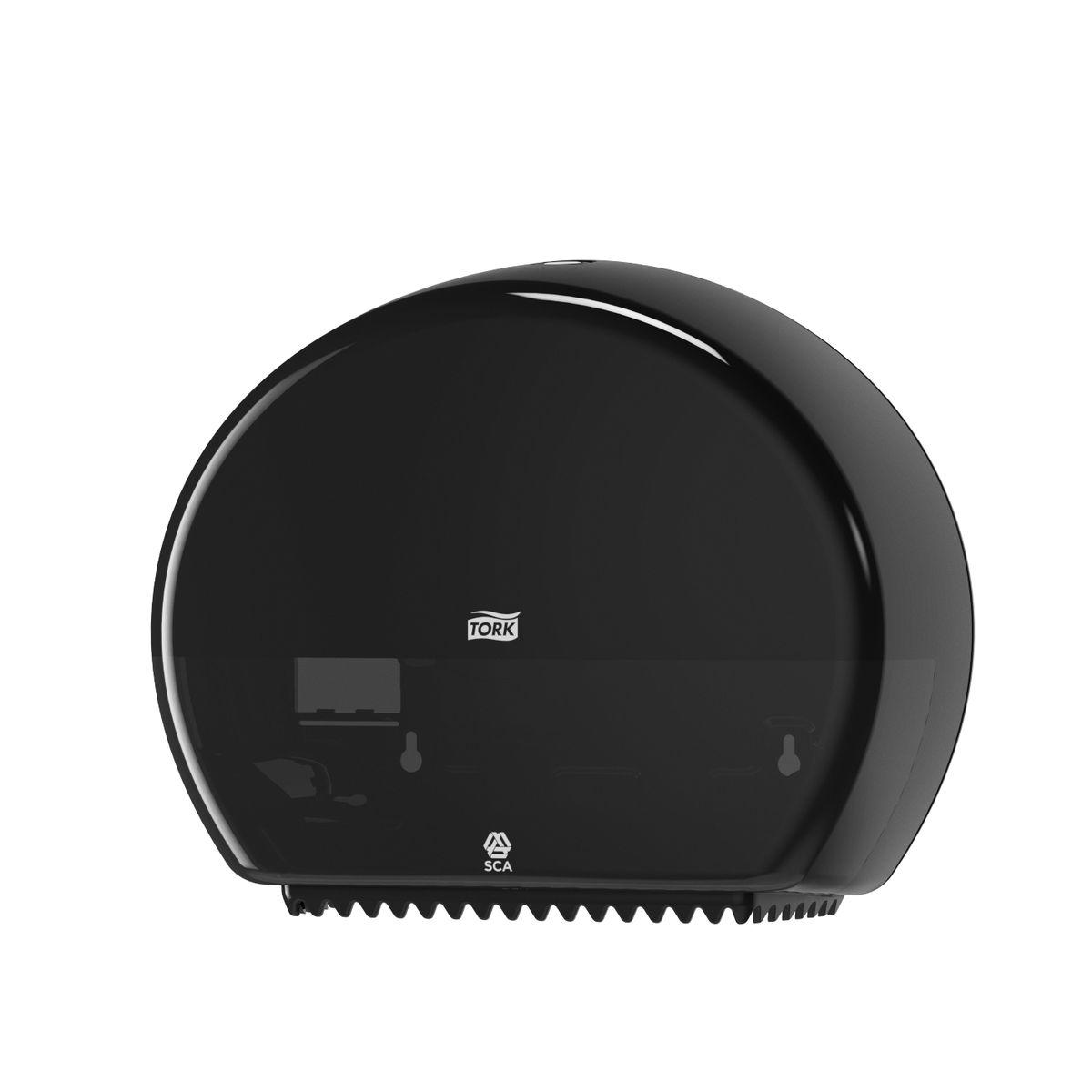 Диспенсер для туалетной бумаги Tork, цвет: черный. 555008555008Система T2 - для туалетной бумаги в мини рулонахДержатель изготовлен из ударопрочного пластика белого цвета.Функция Stub Roll позволяет сэкономить до 35 м бумаги.Снабжен специальными зубчиками, которые подходят для отрыва полотна как с перфорацией, так и без нее.Открывается двумя альтернативными способами: ключом и кнопкой.Вмещает рулон длиной до 200 метров.