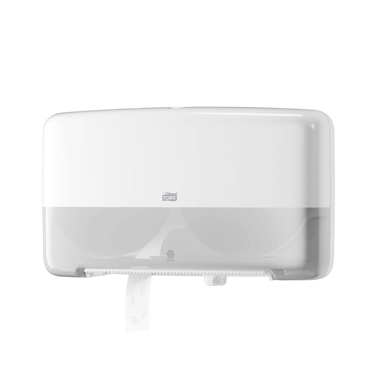 """Диспенсер для туалетной бумаги """"Tork"""" с системой T2 предназначен для туалетной бумаги в мини рулонах.  Диспенсер предназначен для туалетных комнат средней и высокой проходимости. Вмещает 2 мини-рулона туалетной бумаги Tork Т2. Диспенсер очень компактный, емкость до 340м. Вмещает запасной рулон. Доступ к запасному рулону открывается, после окончания основного рулона. 100% использование каждого рулона. Стопор для плавного вращения и предотвращения перерасхода."""