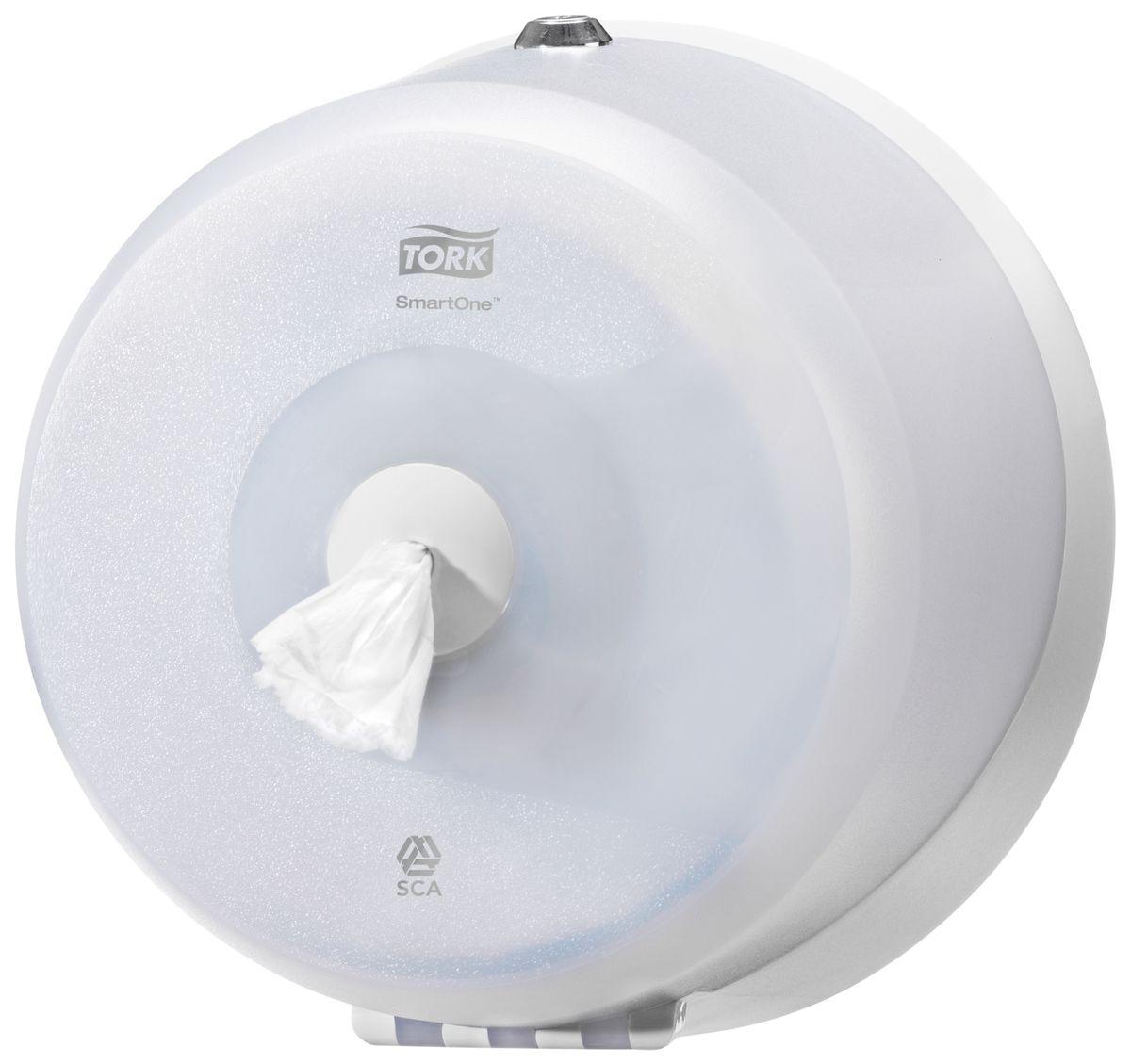 Диспенсер для туалетной бумаги Tork, цвет: белый. 472026472026Система Т9 - бумага в мини рулонах с центральной вытяжкой Яркий синий цвет, высокая прочность и долговечность - главные качество Tork диспенсеров серии Wave.Диспенсер большой емкости - минимум обслуживания.Полистовая подача: сокращение расхода бумаги до 40%.Гигиеничность использования - бесконтактный отбор бумаги.Прочная конструкция из поликарбоната: антивандальные свойства.Полупрозрачная крышка: удобный контроль необходимости перезаполнения.