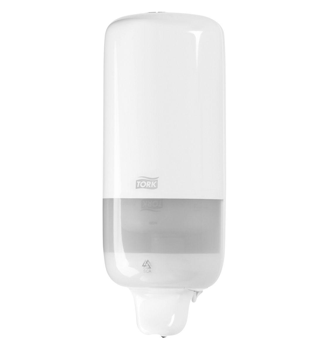 Диспенсер для мыла Tork, цвет: белый. 560000560000Диспенсер Tork подходит для использования в туалетных комнатах всех размеров и уровня проходимости.Изделие изготовлено из прочного пластика черного цвета.Дозатор предназначен для одного стандартного картриджа мыла Tork. Избежать протекания и засорения приспособления позволяет надежная система дозирования средства. Нажатие на клавишу приводит дозатор в действие. Приспособление обеспечивает экономичный расход: 1 нажатие соответствует 1 мл моющего средства.Рассчитан на 1000 порций мыла.В комплекте крепеж и лекало для установки.