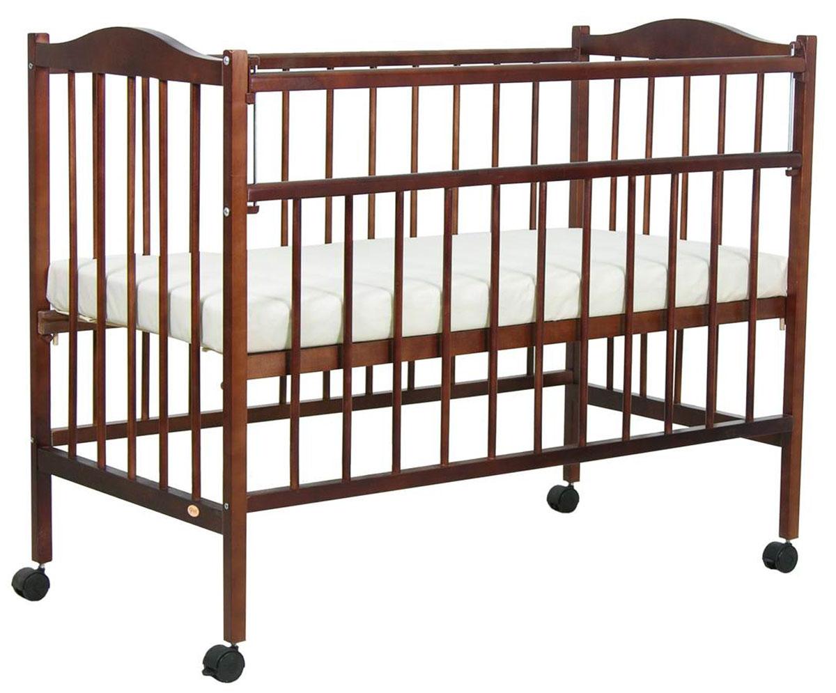 """Детская кроватка """"Фея"""" изготовлена из натурального материала (массив березы) с безвредным лакокрасочным покрытием.Подходит для сна и отдыха малышей с первых дней жизни. Имеет два положения ложа. Кроватка оснащена механизмом опускания передней планки. Имеется ортопедическое основание. У кроватки имеются колеса, при помощи которых ее просто перемещать по комнате."""