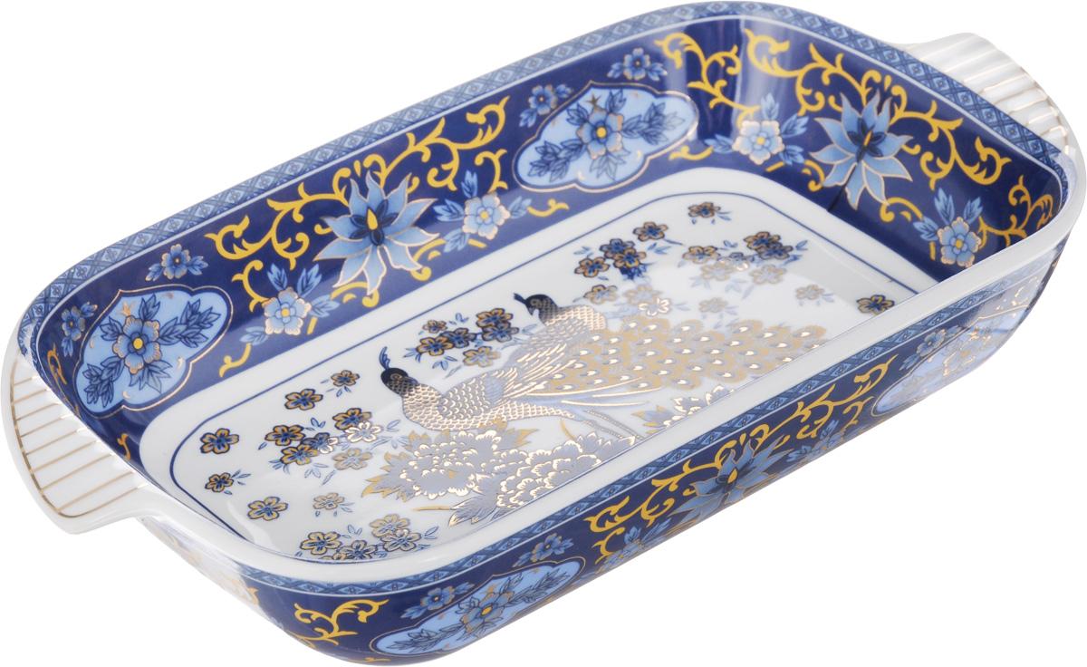 Шубница Elan Gallery Синий павлин, 900 мл503529Шубница Elan Gallery Синий павлин, выполненная из высококачественной керамики, идеальное блюдо для сервировки традиционного салата Сельдь под шубой или любого другого слоеного салата. Компактное, аккуратное блюдо с ручками для удобства станет незаменимым при любом застолье. Не рекомендуется применять абразивные моющие средства. Не использовать в микроволновой печи.Объем: 900 мл.Размер блюда (с учетом ручек): 29 х 16 см.
