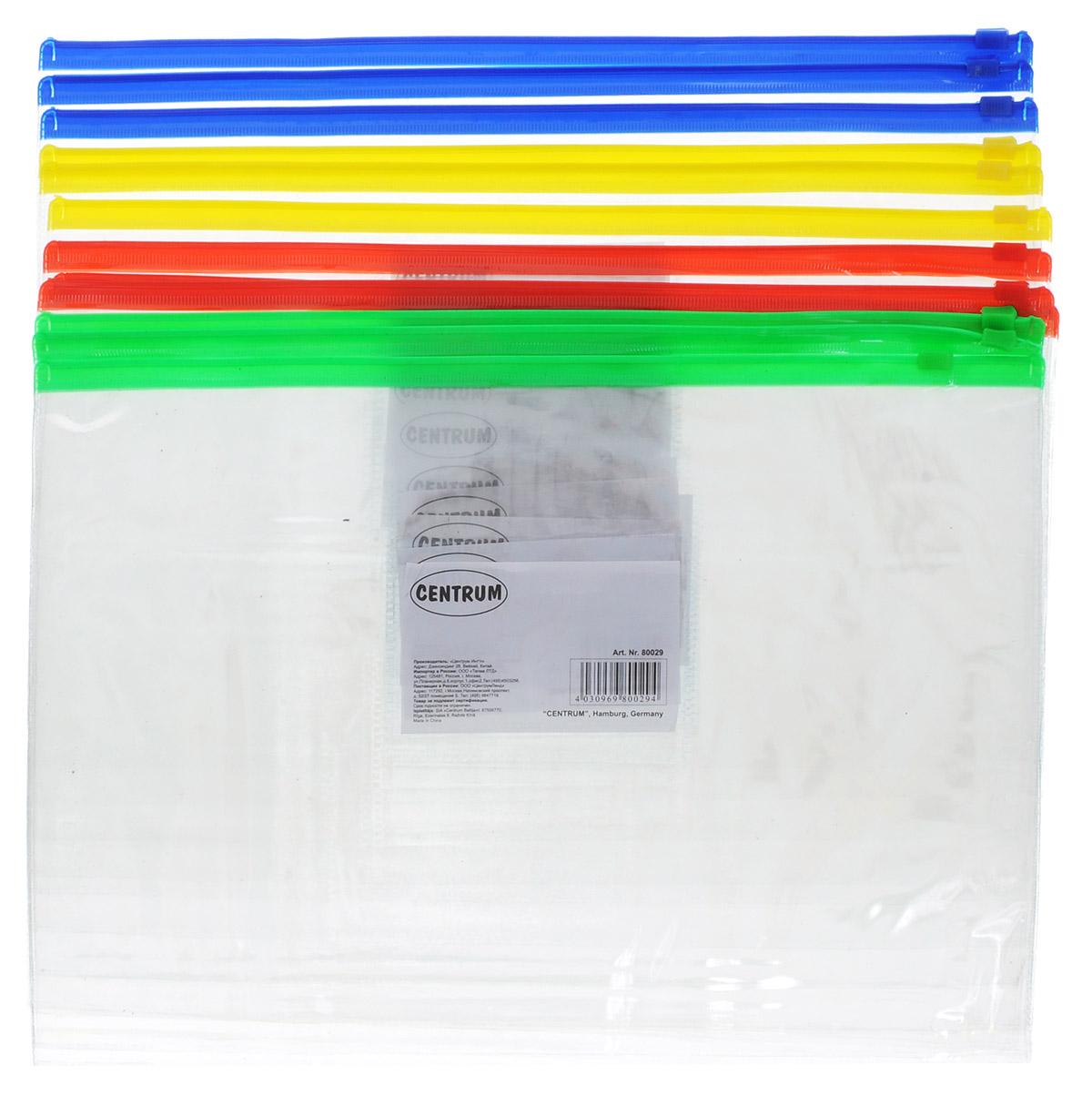 Centrum Набор папок-конвертов на молнии формат А4 12 шт80029ОНабор папок-конвертов на молнии Centrum включает в себя 12 папок разных цветов. Папка Centrum - это удобный и функциональный офисный инструмент, предназначенный для хранения и транспортировки рабочих бумаг и документов формата А4. Папка изготовлена из прозрачного глянцевого пластика, имеет практичную застежку-молнию. Папка-конверт - это незаменимый атрибут для студента, школьника, офисного работника. Такая папка надежно сохранит ваши документы и сбережет их от повреждений, пыли и влаги.