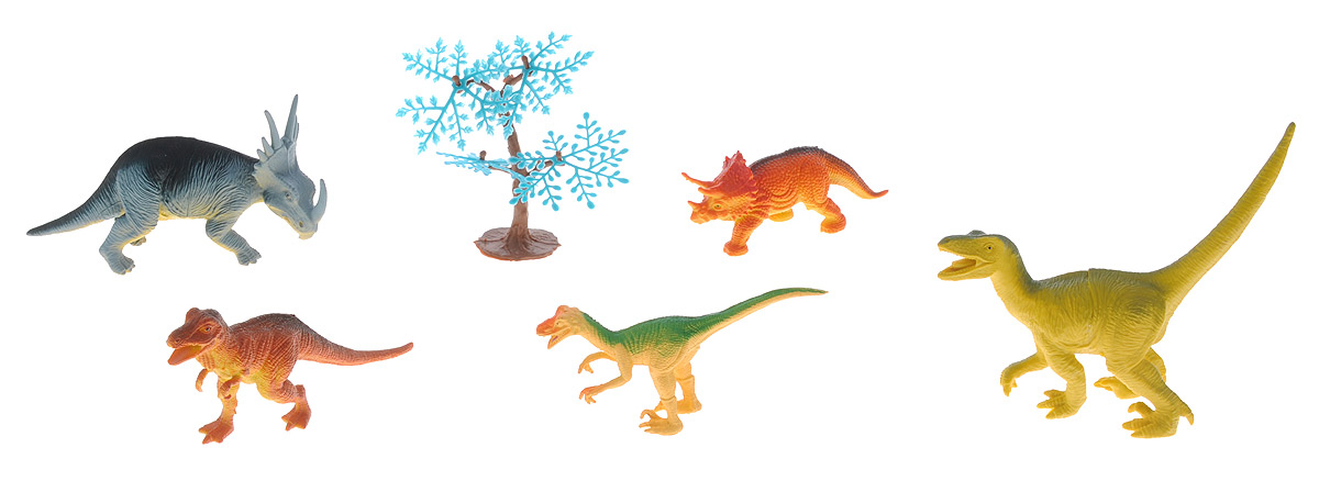 Megasaurs Набор фигурок Динозавры цвет оранжевый желтый серый 5 шт фигурка megasaurs тираннозавр с двигающейся пастью цвет оранжевый зеленый