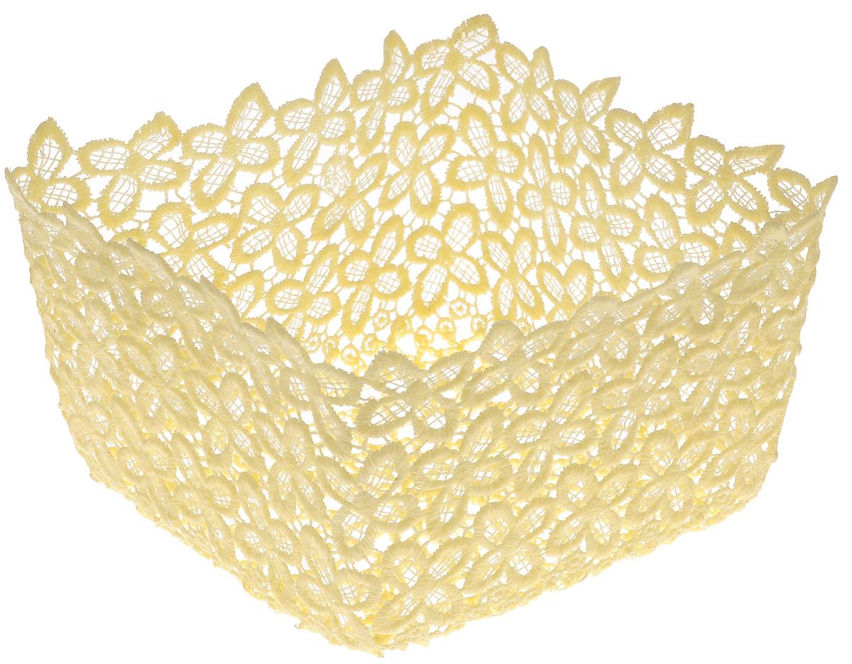 Корзина декоративная Home Queen Клевер, цвет: желтый, 17 х 17 х 9,5 см мочалка из нейлона home queen цвет желтый 57199