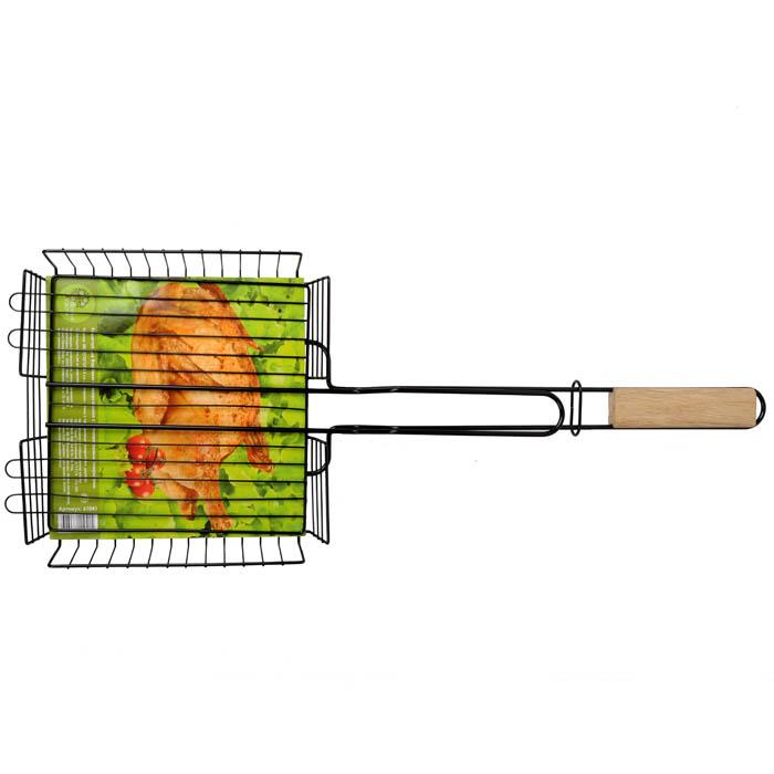 Решетка для барбекю Village People универсальная, с антипригарным покрытием, цвет: черный, 58 х 22 см. 6104161041Решетка для барбекю Village People пригодится для приготовления мяса, курицы, рыбы и овощей. Она выполнена из высококачественного металла с антипригарным покрытием и имеет деревянную ручку. Размер жарочной поверхности: 58 см х 22 см.
