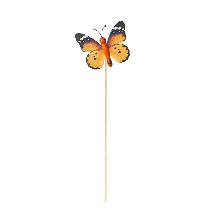 Украшение на ножке Village People Летающие бабочки, цвет: оранжевый, высота 31,5 см. 66964_466964-4Украшение на ножке Village People Летающие бабочки предназначено для декорирования садового участка, грядок, клумб, домашних цветов в горшках, а также для поддержки и правильного роста растений. Изделие выполнено из дерева, пенопласта, металла и пластика.Высота: 31,5 см.