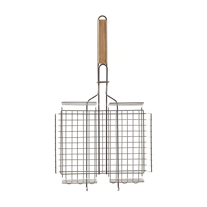 """Решетка-гриль для барбекю """"Village People"""" пригодится для приготовления мяса, курицы, рыбы и овощей. Она выполнена из высококачественного  металла и имеет деревянную ручку."""