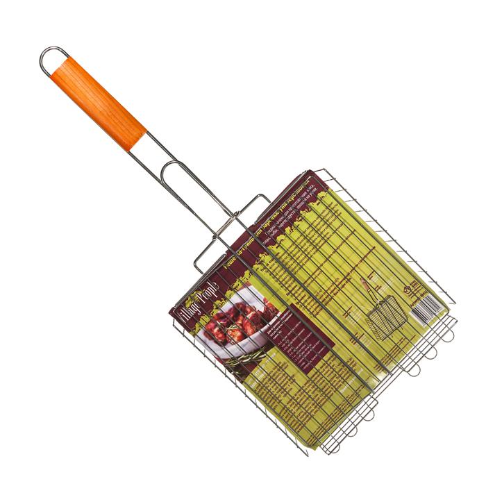 """Решетка-гриль для барбекю """"Village People"""" пригодится для приготовления мяса, курицы, рыбы и овощей. Она выполнена из высококачественного металла и имеет деревянную ручку.Размер: 25 х 25 (55) х 5 см."""