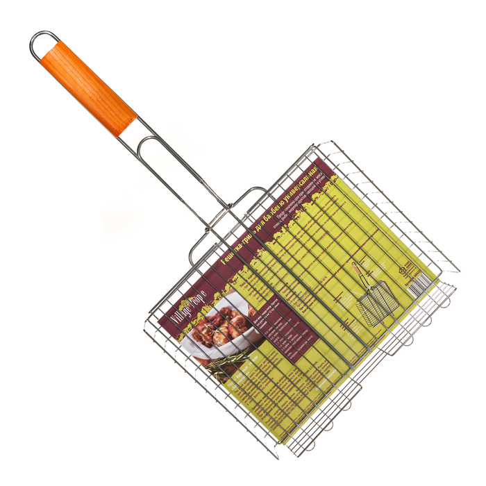 Решетка-гриль для барбекю Village People, универсальная, цвет: стальной, 30 х 24 (54) х 5 см. 6843368433Решетка-гриль для барбекю Village People пригодится для приготовления мяса, курицы, рыбы и овощей. Она выполнена из высококачественного металла и имеет деревянную ручку.Размер: 30 х 24 (54) х 5 см.