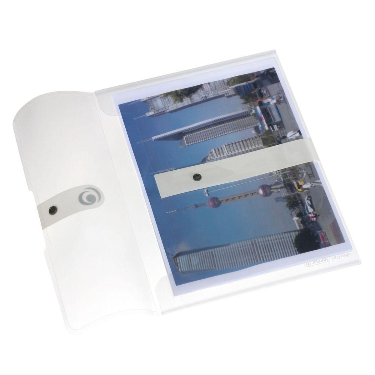 Herlitz Папка-конверт Easy Orga на кнопке цвет прозрачный