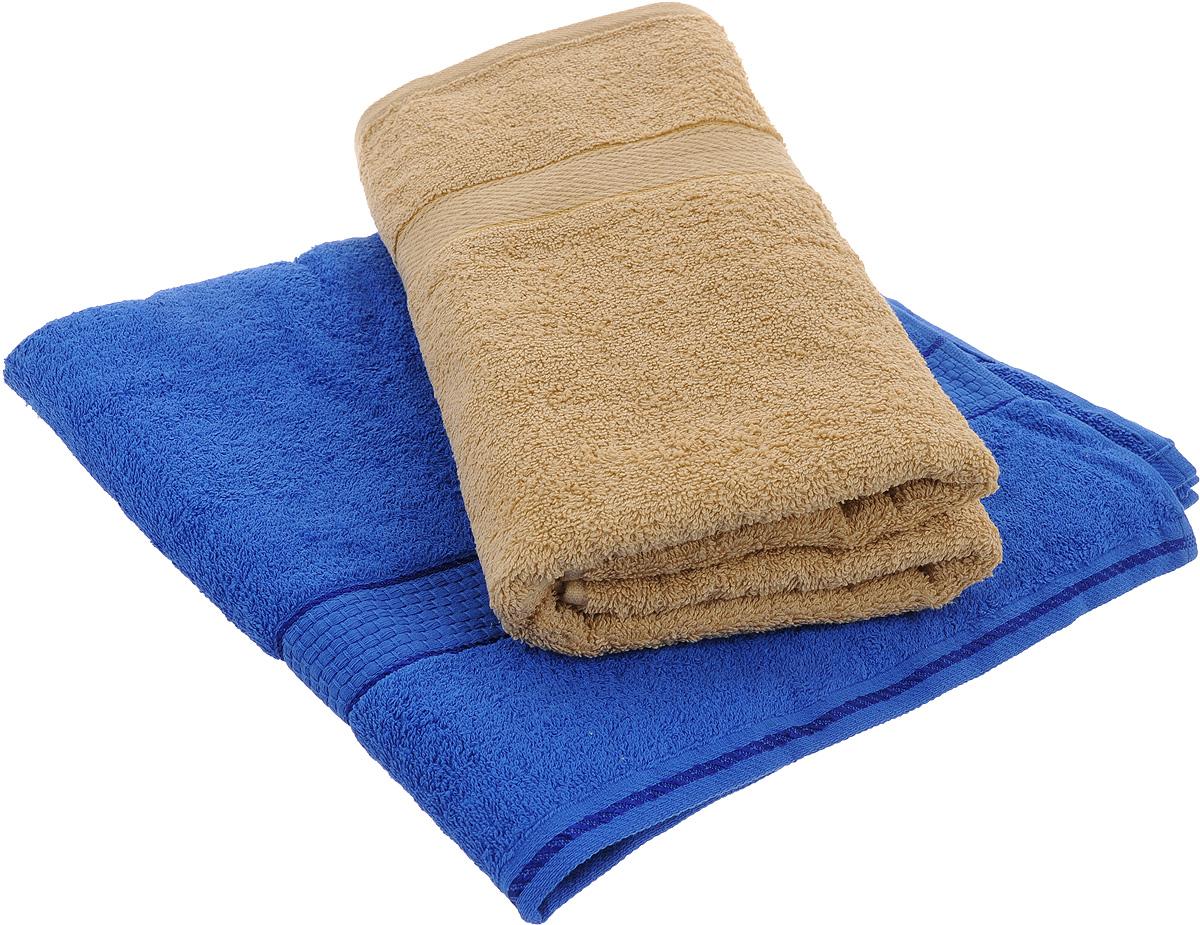 "Набор махровых полотенец ""Aisha Home Textile"", цвет: синий, бежевый, 70 х 140 см, 2 шт"