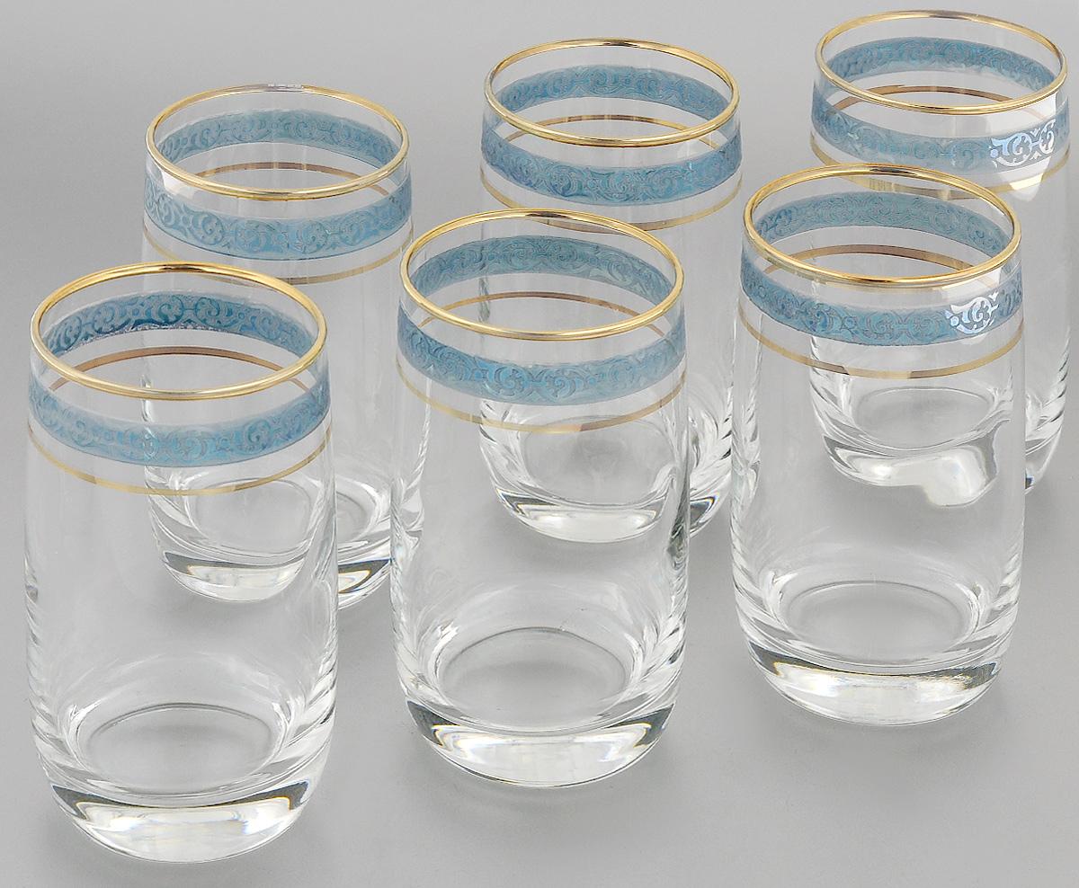 Набор стаканов для коктейлей Гусь-Хрустальный Махараджа, цвет: прозрачный, золотистый, синий, 330 мл, 6 штEL52-809CНабор Гусь-Хрустальный Махараджа состоит из 6 стаканов для коктейлей, изготовленных из высококачественного натрий-кальций-силикатного стекла. Изделия оформлены красивой зеркальной окантовкой и золотистым узором в виде изящной линии. Такой набор прекрасно дополнит праздничный стол и станет желанным подарком в любом доме. Разрешается мыть в посудомоечной машине. Диаметр стакана (по верхнему краю): 6 см. Высота стакана: 12,5 см.