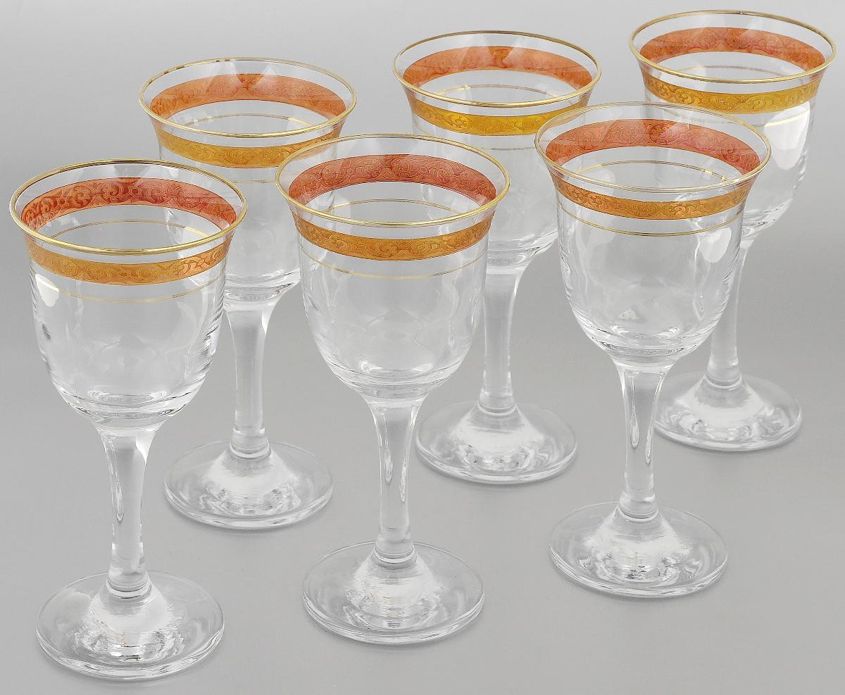Набор фужеров Гусь-Хрустальный Махараджа, цвет: прозрачный, золотистый, розовый, 240 мл, 6 штEL52-863KНабор Гусь-Хрустальный Махараджа состоит из 6 фужеров на изящных длинных ножках, изготовленных из высококачественного натрий-кальций-силикатного стекла. Изделия предназначены для подачи холодных напитков, вина и многого другого. Фужеры оформлены красивым зеркальным покрытием с матовым орнаментом. Такой набор прекрасно дополнит праздничный стол и станет желанным подарком в любом доме. Разрешается мыть в посудомоечной машине. Диаметр фужера (по верхнему краю): 8,5 см. Высота фужера: 18 см.