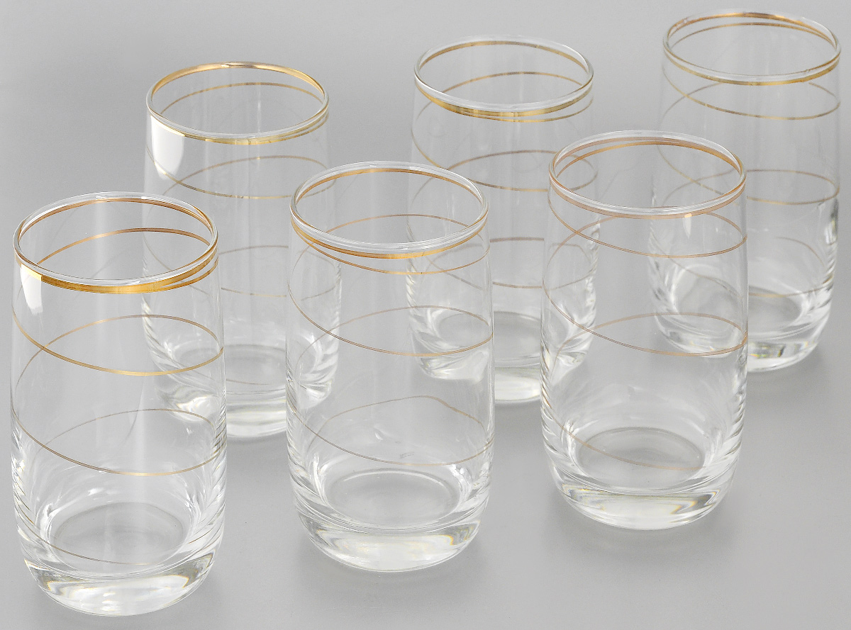 """Набор Гусь-Хрустальный """"Змейка"""" состоит из 6 стаканов для коктейлей, изготовленных из высококачественного натрий-кальций-силикатного стекла. Изделия оформлены красивой зеркальной окантовкой и золотистым узором в виде изящной линии. Такой набор прекрасно дополнит праздничный стол и станет желанным подарком в любом доме. Разрешается мыть в посудомоечной машине. Диаметр стакана (по верхнему краю): 6 см. Высота стакана: 12,5 см."""
