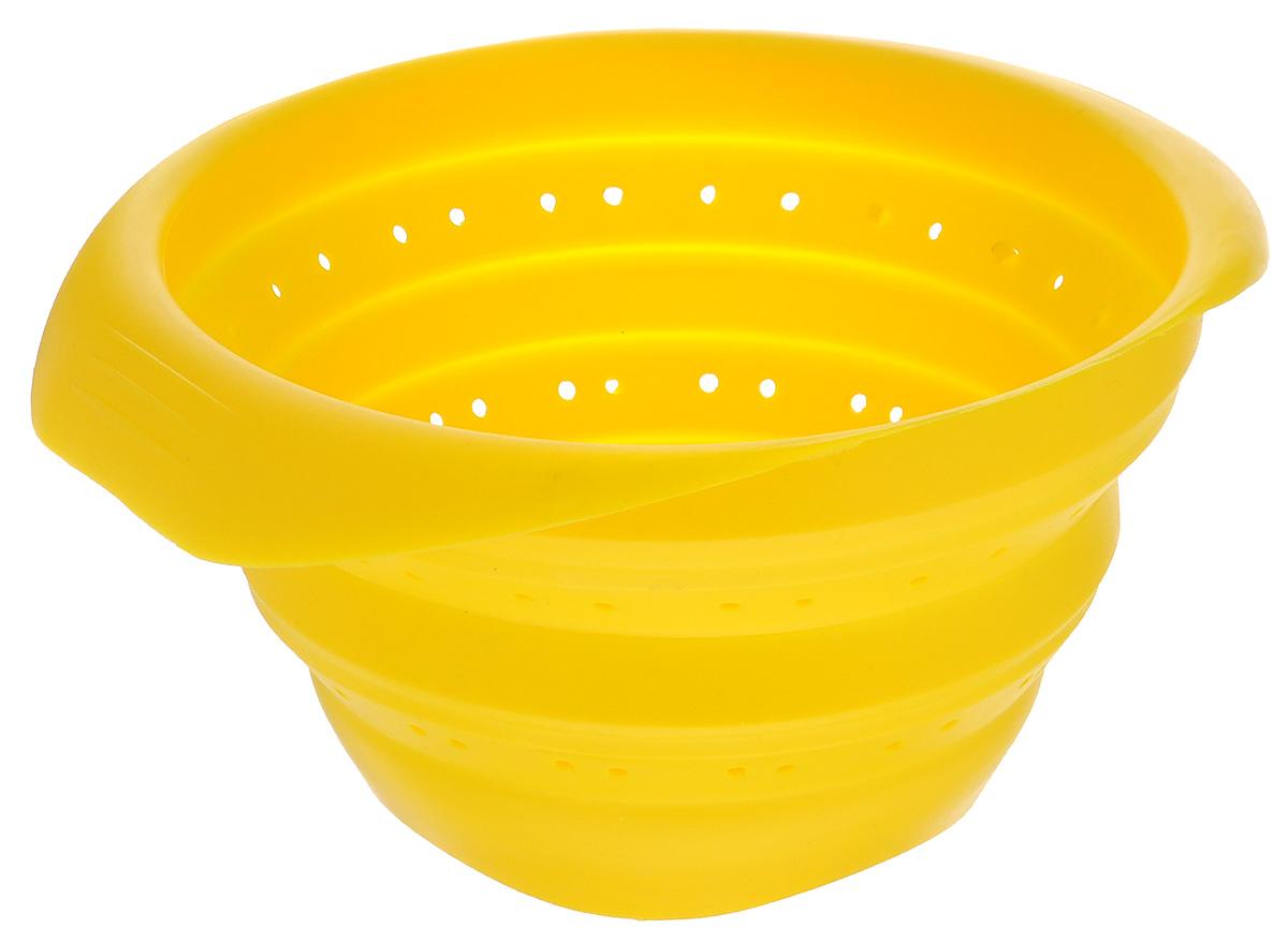 Дуршлаг Mayer & Boch, складной, цвет: желтый, диаметр 15 см4432-4Дуршлаг Mayer & Boch изготовлен из качественного пищевого силикона. Благодаря гибкости материала, дуршлаг удобно складывается и занимает минимум места при хранении. В таком дуршлаге удобно промывать ягоды, фрукты, овощи, а также процеживать макароны. Дуршлаг является необходимым аксессуаром для каждой кухни. Он станет полезным и практичным приобретением.