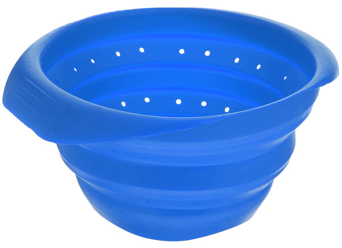 Дуршлаг Mayer & Boch, складной, цвет: синий, диаметр 15 см4432-3Дуршлаг Mayer & Boch изготовлен из качественного пищевого силикона. Благодаря гибкости материала, дуршлаг удобно складывается и занимает минимум места при хранении. В таком дуршлаге удобно промывать ягоды, фрукты, овощи, а также процеживать макароны.Дуршлаг является необходимым аксессуаром для каждой кухни. Он станет полезным и практичным приобретением.