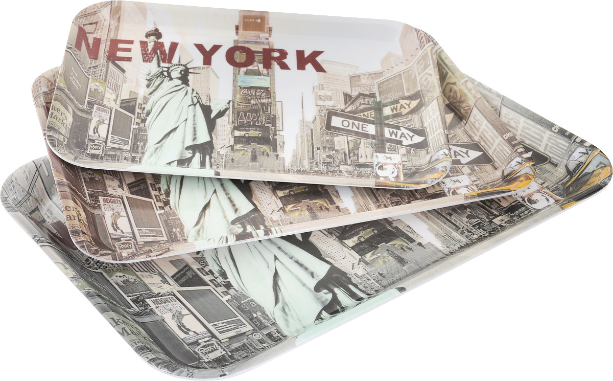 Набор подносов Mayer & Boch New York, 3 шт24782Оригинальный набор Mayer & Boch New York состоит из трех сервировочных подносов разного размера. Изделия, изготовленные из высококачественного пластика и украшены ярким изображением.Подносы отлично подойдут для красивой сервировки различных блюд, закусок и фруктов на праздничном столе. Набор подносов Mayer & Boch New York станет отличным подарком на любой праздник.Размер малого подноса (с учетом ручек): 29 х 20 х 1,6 см.Размер среднего подноса (с учетом ручек): 33,5 х 23 х 2 см.Размер большого подноса (с учетом ручек): 38,5 х 26,5 х 2,3 см.