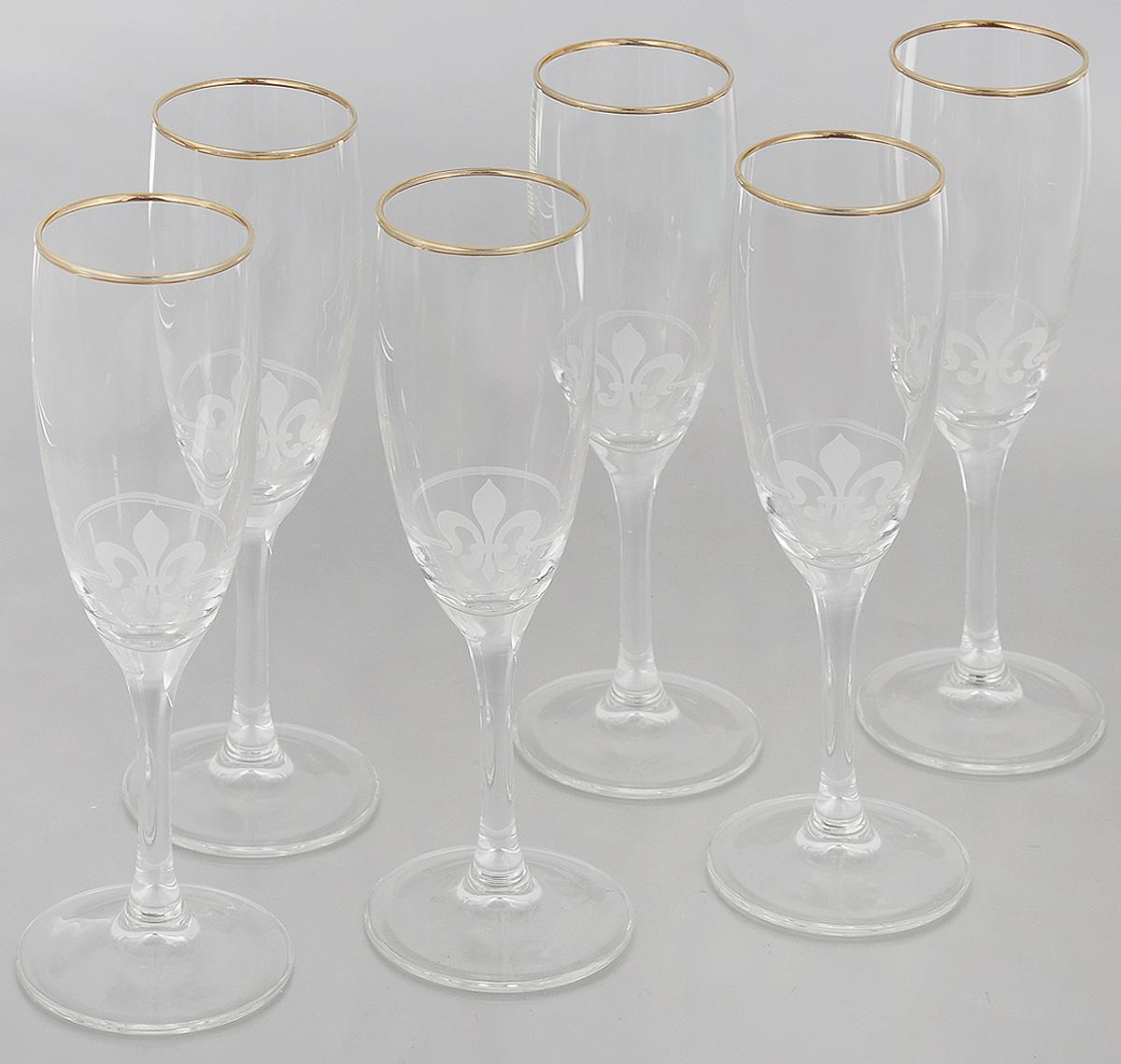 Набор бокалов Гусь-Хрустальный Королевская лилия, 170 мл, 6 шт набор бокалов для бренди гусь хрустальный версаче 400 мл 6 шт
