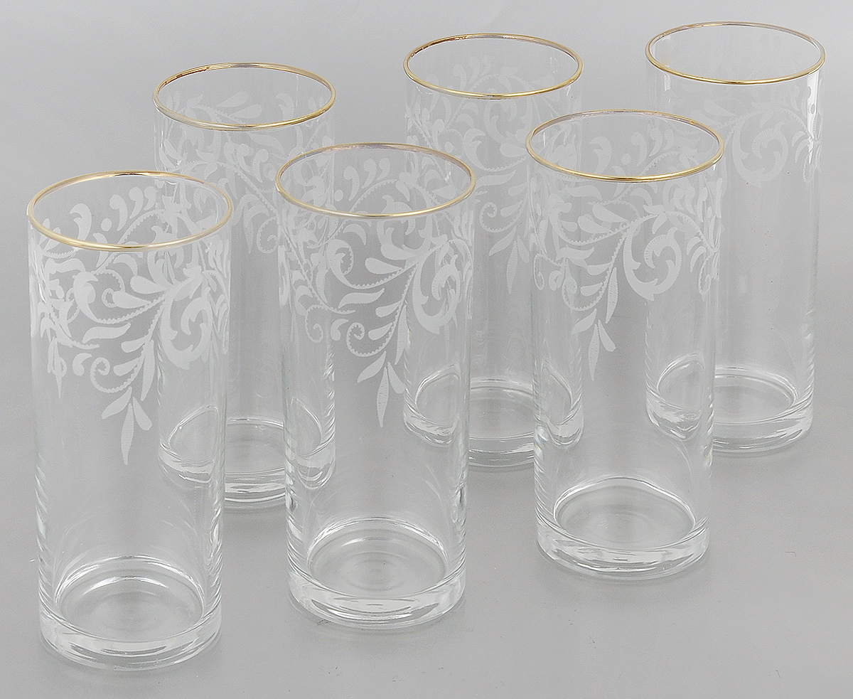 """Набор Гусь-Хрустальный """"Веточка"""" состоит из 6 высоких стаканов, изготовленных из высококачественного натрий-кальций-силикатного стекла. Изделия оформлены красивым зеркальным покрытием и белым матовым орнаментом. Стаканы предназначены для подачи коктейлей, а также воды и сока. Такой набор прекрасно дополнит праздничный стол и станет желанным подарком в любом доме. Разрешается мыть в посудомоечной машине. Диаметр стакана (по верхнему краю): 6,2 см. Высота стакана: 15,5 см."""