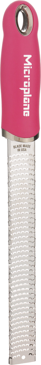 Терка для цедры и сыра Microplane, цвет: стальной, ярко-розовый46920Терка Microplane, изготовленная из нержавеющейстали, оснащена мелкими лезвиями ипредназначена специально для натирания сыра ицедры. Изделие оснащено эргономичной ручкой с нескользящим покрытием.Такой уникальный предмет станет незаменимымпомощником на вашей кухне и понравится любойхозяйке. Длина терки: 32,5 см.Размер рабочей поверхности: 18,5 х 2,5 см.Microplane – это легендарные американские терки. ПродукциейMicroplane пользуются все известные кулинары и повара всего мира, среди них знаменитый шеф-повар Джейми Оливер. Вся продукция Microplane производится на собственном заводе в США. Для изготовления терок Microplane используют самую качественную нержавеющую сталь. Благодаря уникальному химическому составу стали, продукция Microplane не окисляется и сохраняет большее количество витаминов и полезных веществ в продуктах. Для производства продукции Microplane используются нержавеющие стали высокой твердости, поэтому продукция Microplane не тупится годами. Запатентованный процесс фотогравировки позволяет создать сверхострые лезвия для продукции Microplane.