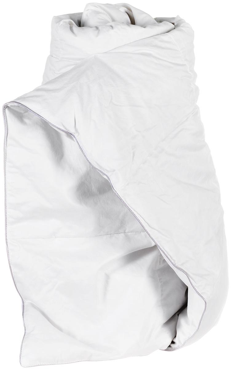 """Детское легкое одеяло Легкие сны """"Лоретта"""" поможет расслабиться, снимет усталость и подарит вам спокойный и здоровый сон.Одеяло наполнено гусиным пухом категории """"Экстра"""", оно необычайно легкое, пышное, обладает превосходными теплозащитными свойствами. Кассетное распределение пуха способствует сохранению формы и воздушности изделия. Чехол одеяла выполнен из белоснежного сатина (100% хлопок). Серый шелковый кант изящно подчеркивает форму и оттеняет гладкость и блеск сатина. Цвет изделия дает возможность использовать постельное белье светлых оттенков.Легкое одеяло """"Лоретта"""" идеально подойдет для прохладных весенних и летних ночей. Под нежным, мягким и теплым одеялом вам приснятся только сказочные сны.Уход: деликатная стирка при температуре воды до 30°C, не отбеливать, не гладить, разрешается обычная сухая чистка с использованием тетрахлорэтилена и всех растворителей, перечисленных для символа """"P"""", барабанная сушка запрещена."""