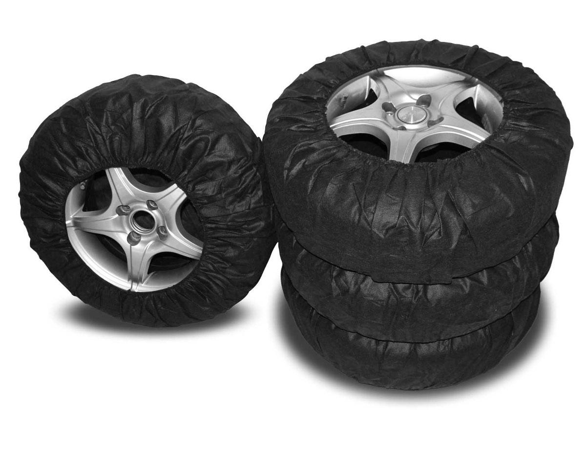 Чехлы для хранения автомобильных колес Masterprof, от 14 до 17, 4 штАС.050026Комплект Masterprof состоит из 4 многоразовых чехлов для автомобильных колес.Чехлы изготовлены из нетканого материала спанбонд, который отлично пропускает воздух, благодаря чему шины не будут преть, а диски ржаветь или окисляться. Изделия плотно облегают колесо и одеваются за 20 секунд. Подходят к шинам от 14 до 17, а именно:-14: 175/70, 175/80, 185/60, 185/65, 195/60, 195/65, 205/65.-15: 185/55, 185/60, 185/65, 195/50, 195/55, 195/60, 195/65, 195/70, 205/55, 205/65.-16: 195/50, 195/65, 205/55.-17: 225/45.Диаметр колес: 14-17.