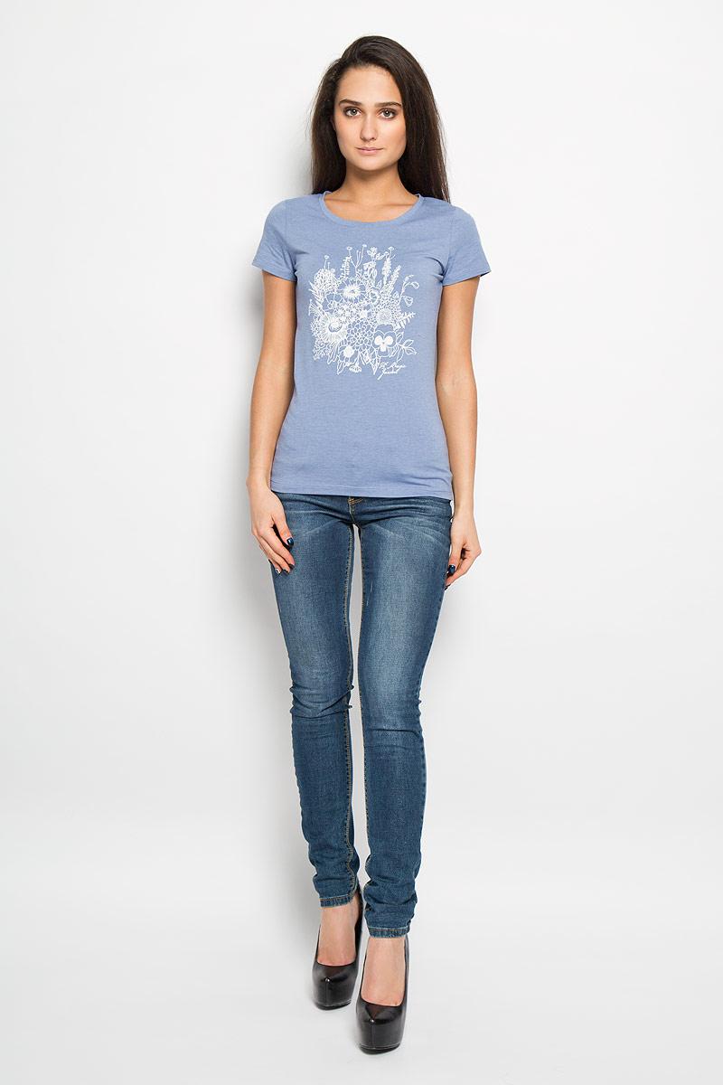 Футболка женская F5, цвет: голубой. 160076_12380/Bouquet. Размер L (48)160076Отличная женская футболка F5, выполненная из хлопка с добавлением полиэстера и эластана, приятная на ощупь не сковывает движения и позволяет коже дышать. Модель с круглым вырезом горловины и короткими рукавами спереди оформлена термоаппликацией с цветочным принтом.Эта футболка станет отличным дополнением к вашему гардеробу.
