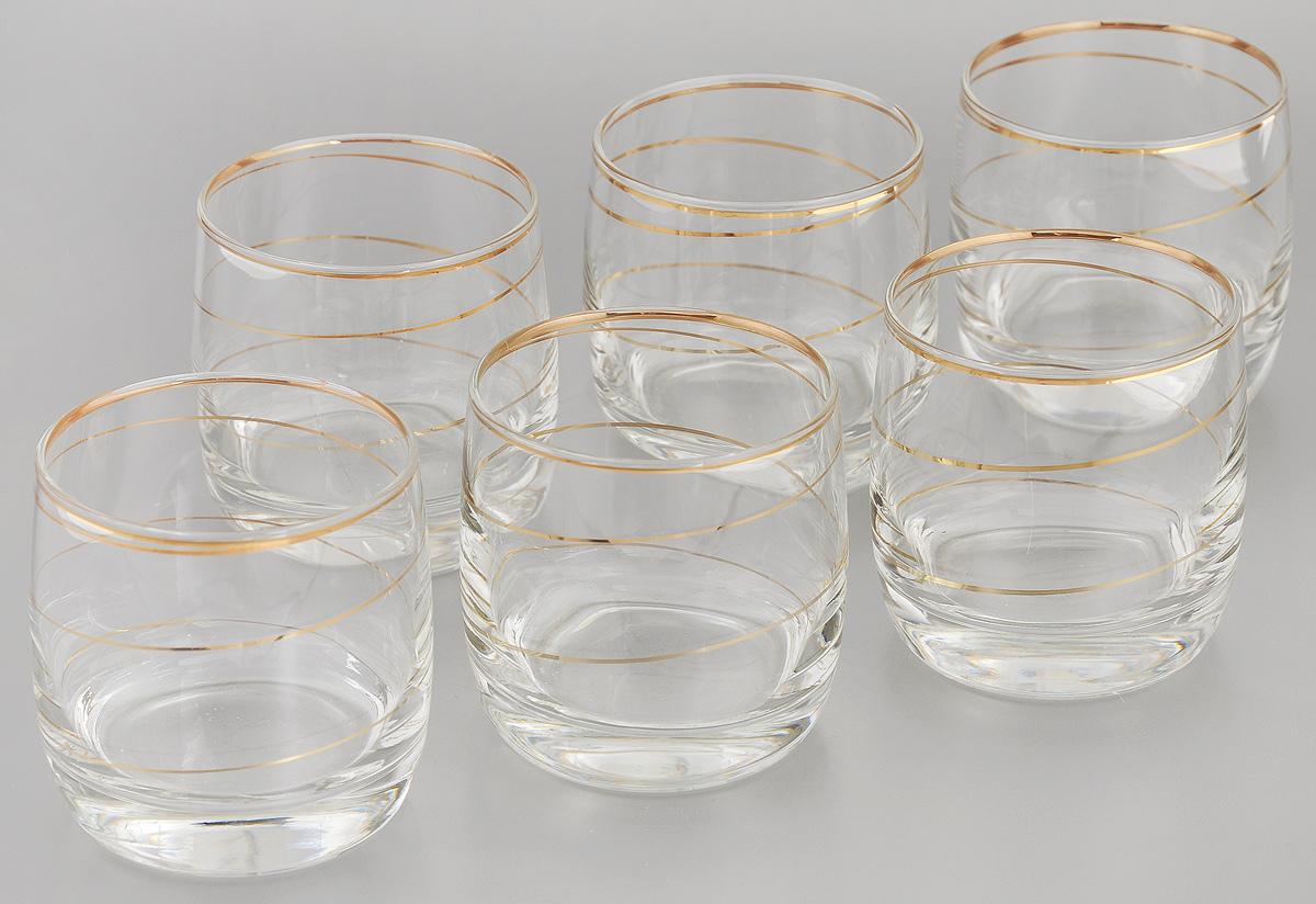 Набор стаканов для виски Гусь-Хрустальный Змейка, 310 мл, 6 штD29-808Набор Гусь-Хрустальный Змейка состоит из 6 стаканов для виски, изготовленных из высококачественного натрий-кальций-силикатного стекла. Изделия оформлены красивой зеркальной окантовкой и золотистым орнаментом. Такой набор прекрасно дополнит праздничный стол и станет желанным подарком в любом доме. Разрешается мыть в посудомоечной машине. Диаметр стакана (по верхнему краю): 7,5 см. Высота стакана: 8 см.