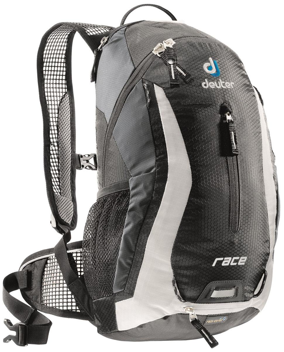 Рюкзак Deuter Race, цвет: черный, 10 л32113_7130Deuter Race - спортивный и обтекаемый рюкзак для велогонщиков. Простой дизайн и малый вес - идеальный выбор для сторонников минимального веса. Рюкзак обладает небольшим весом и отличной функциональностью.Особенности:- Анатомические плечевые лямки и набедренный пояс с сетчатыми подушками обеспечивают идеальную посадку рюкзака; - Наружный карман; - Верхний карман с удобным доступом; - Внутренний карман для ценных вещей; - Отражатель 3M; - Петля для крепления ночного габаритного фонарика Safety Blink; - Крепления для системы снабжения питьевой водой; - Чехол от дождя; - Чентилируемая спинка Deuter Airstripes; - Анатомические плечевые лямки из сетки и нагрудный ремень с удобной регулировкой; - Набедренный пояс с сетчатыми крыльями; - Небольшой верхний карман на молнии; - Передний карман; - Отражатели 3M спереди, сзади и по бокам; - Внутренний карман для мелких вещей; - Петля для крепления ночного габаритного фонарика; - Чехол от дождя; - Сетчатые боковые карманы.Размеры: 42x21x16 см.