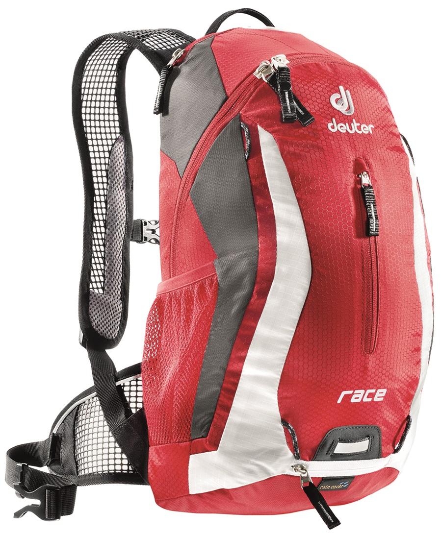 Рюкзак Deuter Race, цвет: красный, 10 л32113_5350Deuter Race - спортивный и обтекаемый рюкзак для велогонщиков. Простой дизайн и малый вес - идеальный выбор для сторонников минимального веса. Рюкзак обладает небольшим весом и отличной функциональностью.Особенности:- Анатомические плечевые лямки и набедренный пояс с сетчатыми подушками обеспечивают идеальную посадку рюкзака; - Наружный карман; - Верхний карман с удобным доступом; - Внутренний карман для ценных вещей; - Отражатель 3M; - Петля для крепления ночного габаритного фонарика Safety Blink; - Крепления для системы снабжения питьевой водой; - Чехол от дождя; - Чентилируемая спинка Deuter Airstripes; - Анатомические плечевые лямки из сетки и нагрудный ремень с удобной регулировкой; - Набедренный пояс с сетчатыми крыльями; - Небольшой верхний карман на молнии; - Передний карман; - Отражатели 3M спереди, сзади и по бокам; - Внутренний карман для мелких вещей; - Петля для крепления ночного габаритного фонарика; - Чехол от дождя; - Сетчатые боковые карманы.Размеры: 42x21x16 см.